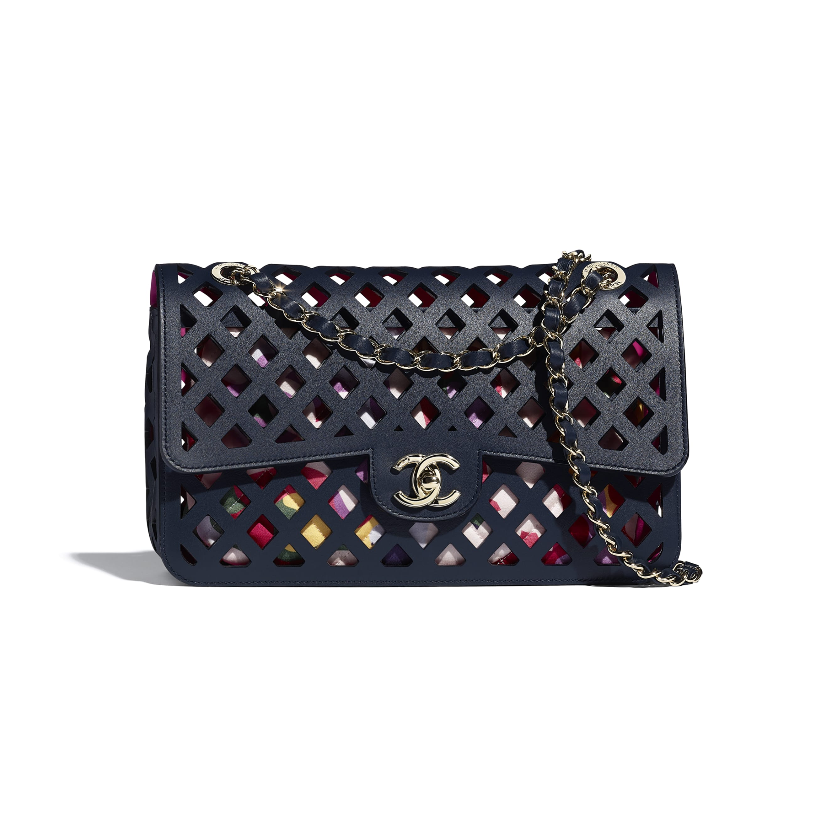 Large Flap Bag - Navy Blue - Perforated Calfskin, Printed Fabric & Gold-Tone Metal - CHANEL - Default view - see standard sized version