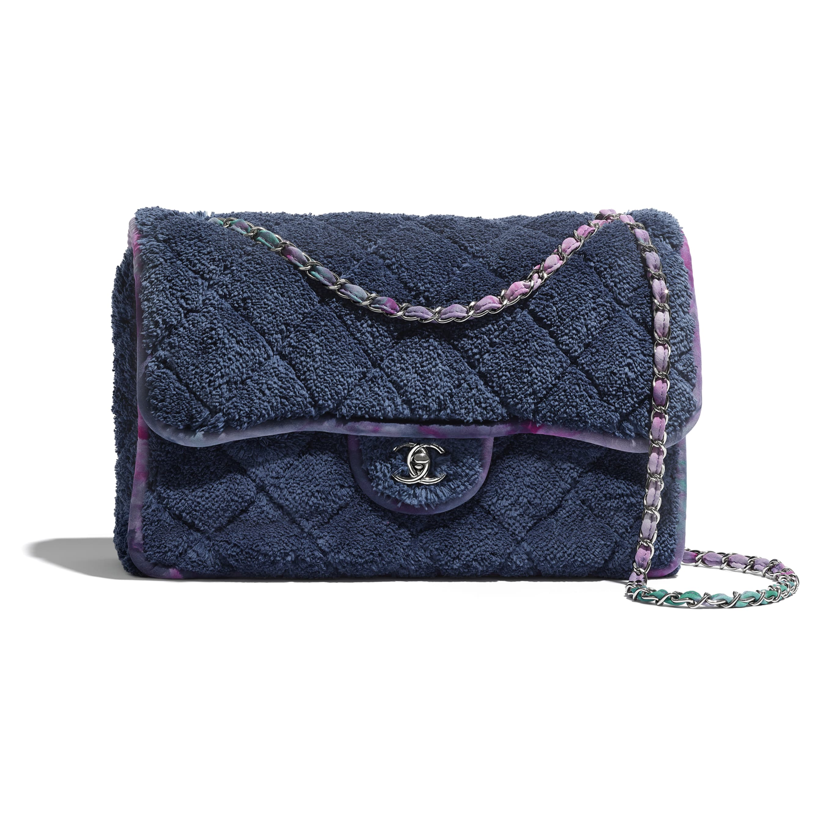 Large Flap Bag - Navy Blue & Purple - Mixed Fibers & Silver-Tone Metal - CHANEL - Default view - see standard sized version