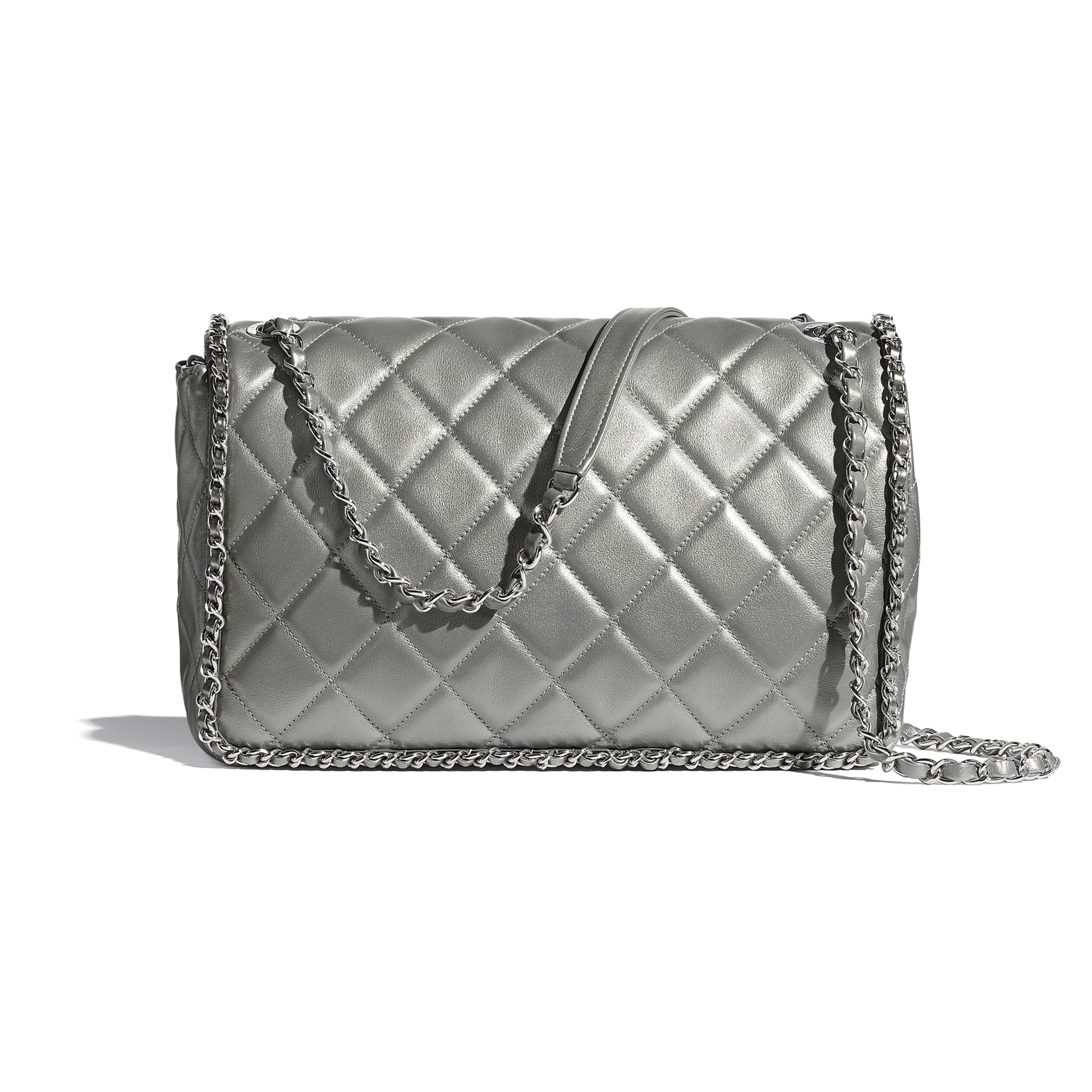 Large Flap Bag - Silver - Metallic Calfskin & Silver-Tone Metal - CHANEL - Alternative view - see standard sized version