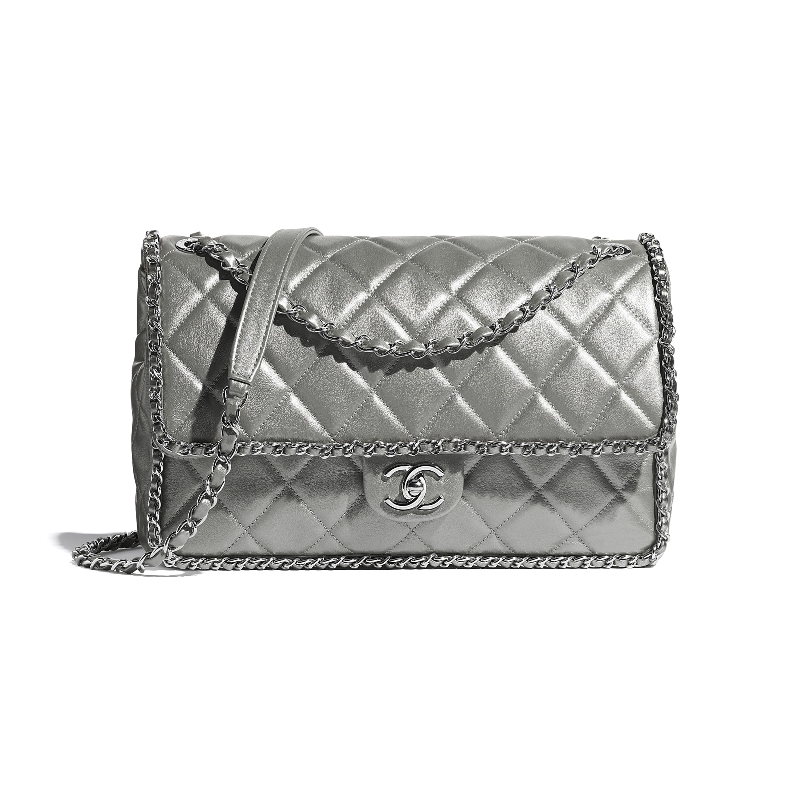 Large Flap Bag - Silver - Metallic Calfskin & Silver-Tone Metal - CHANEL - Default view - see standard sized version