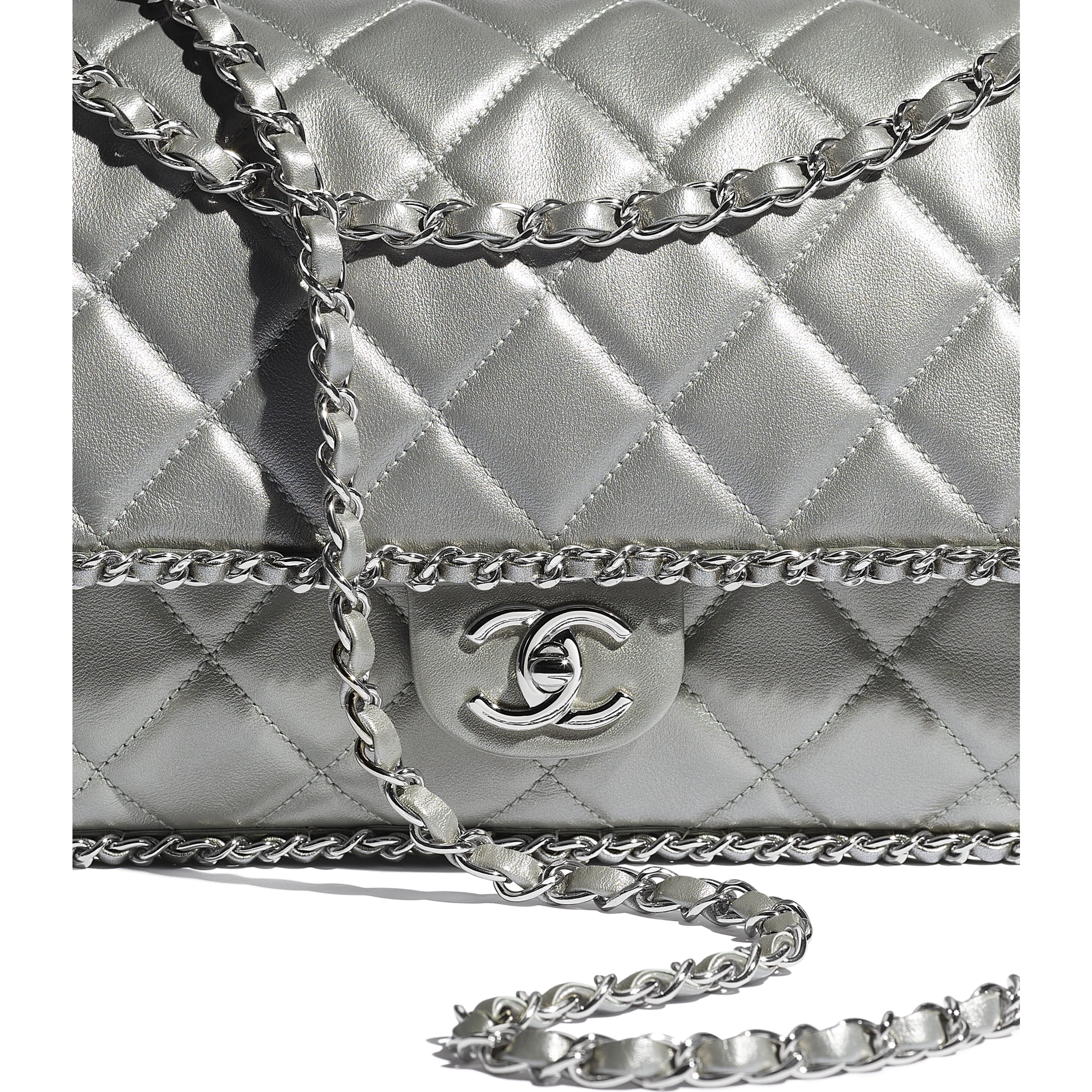 Large Flap Bag - Silver - Metallic Calfskin & Silver-Tone Metal - CHANEL - Extra view - see standard sized version