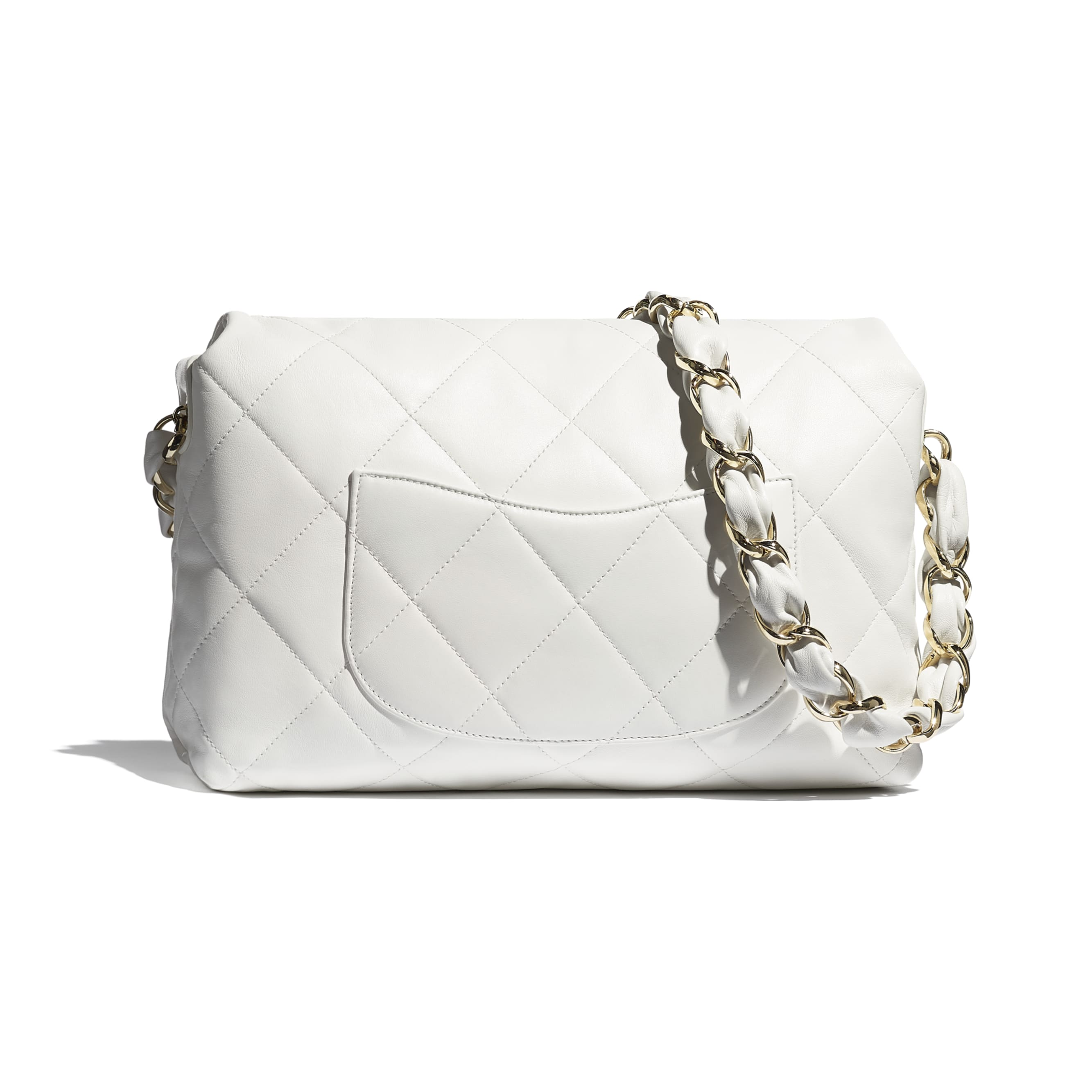 Large Flap Bag - White - Lambskin - CHANEL - Alternative view - see standard sized version