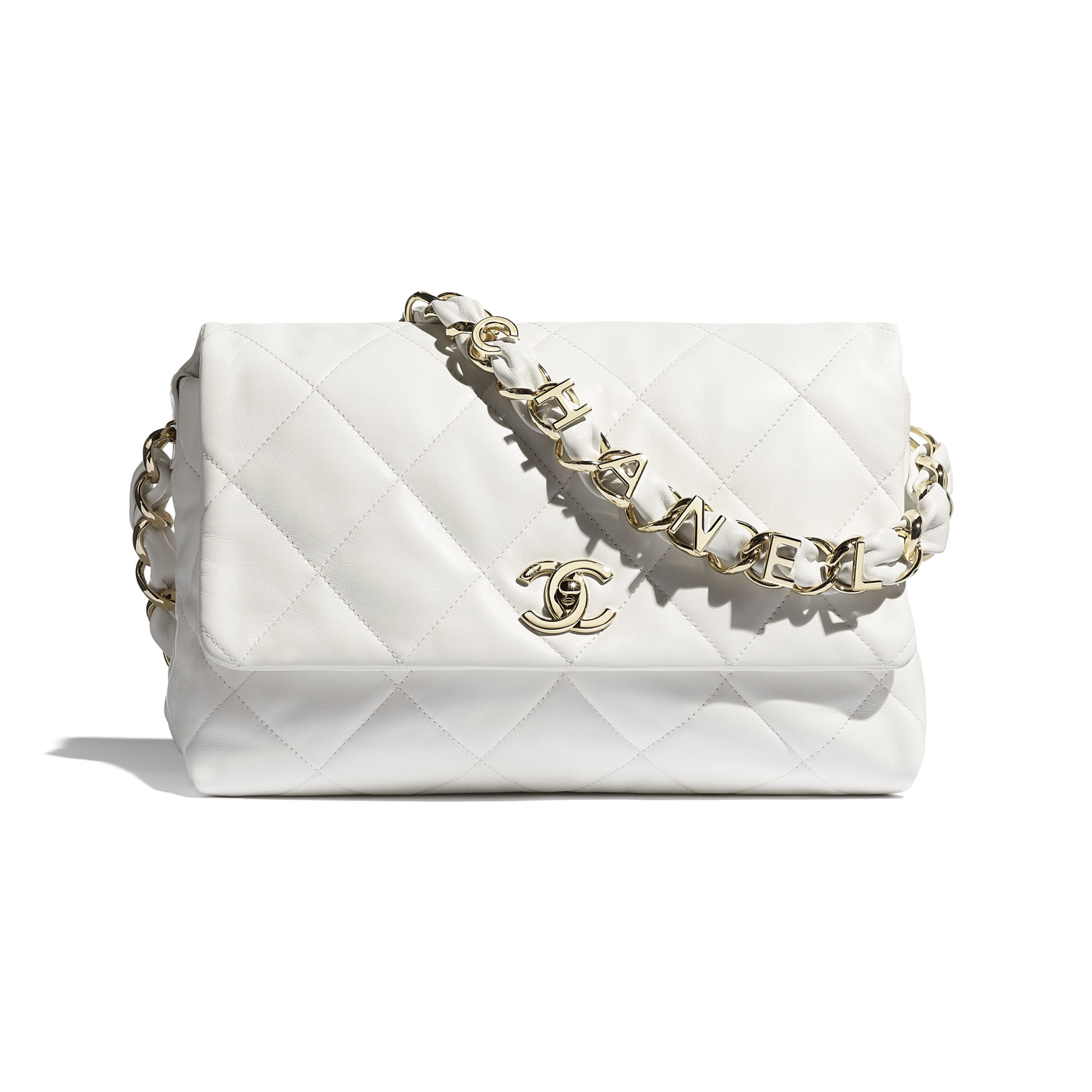 Large Flap Bag - White - Lambskin - CHANEL - Default view - see standard sized version
