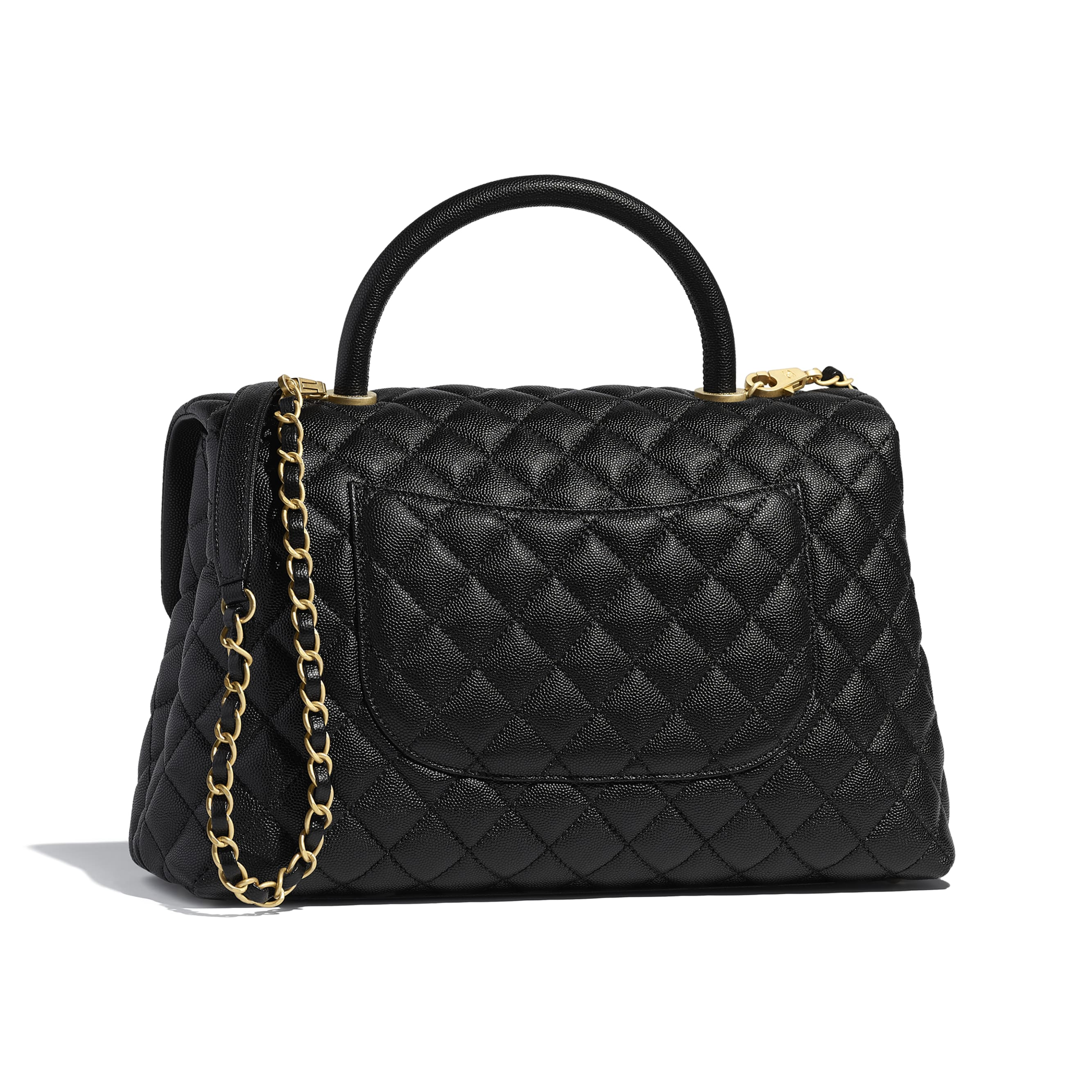 Large Flap Bag With Top Handle - Black - Grained Calfskin & Gold-Tone Metal - Alternative view - see standard sized version