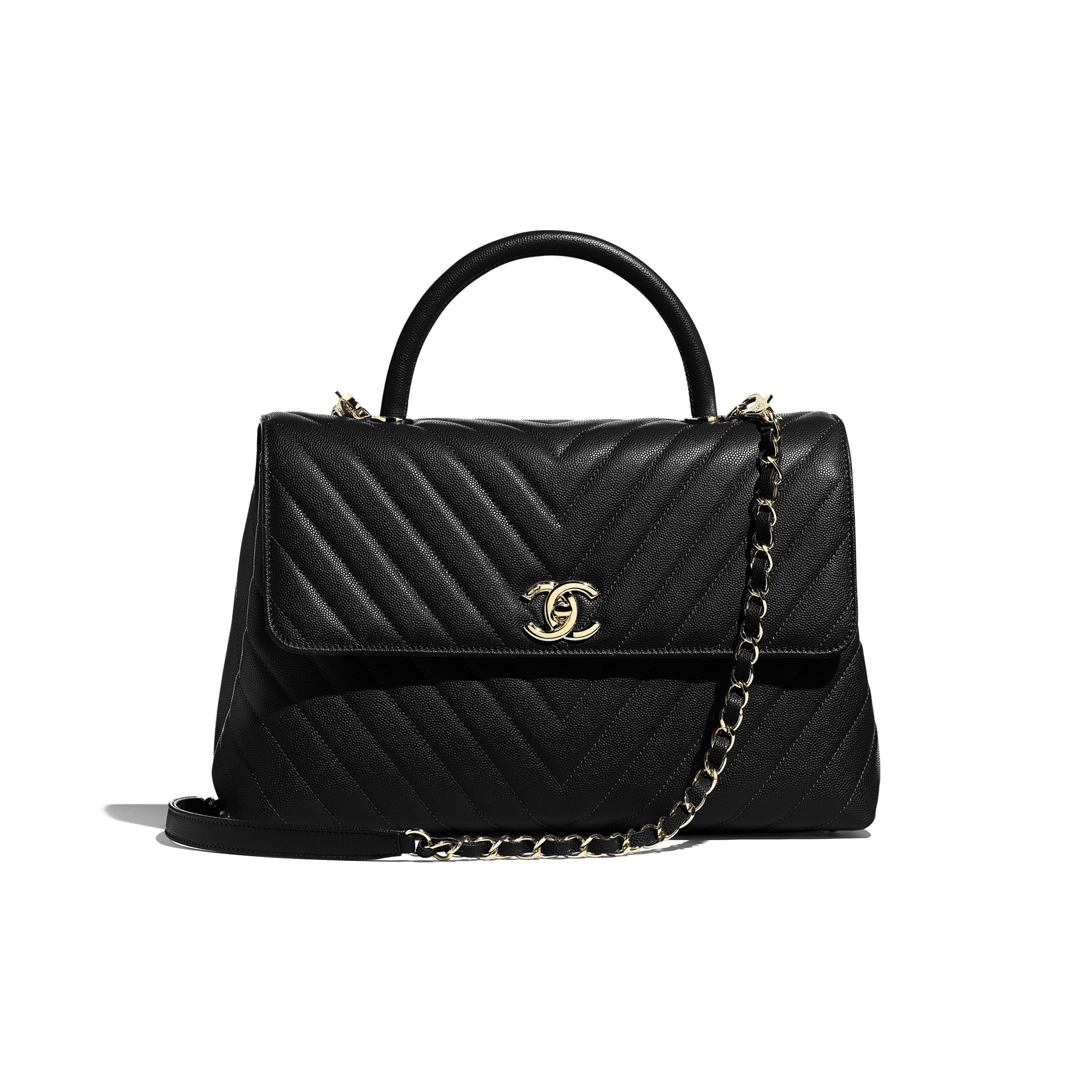 Large Flap Bag with Top Handle - Black - Grained Calfskin & Gold-Tone Metal - CHANEL - Default view - see standard sized version