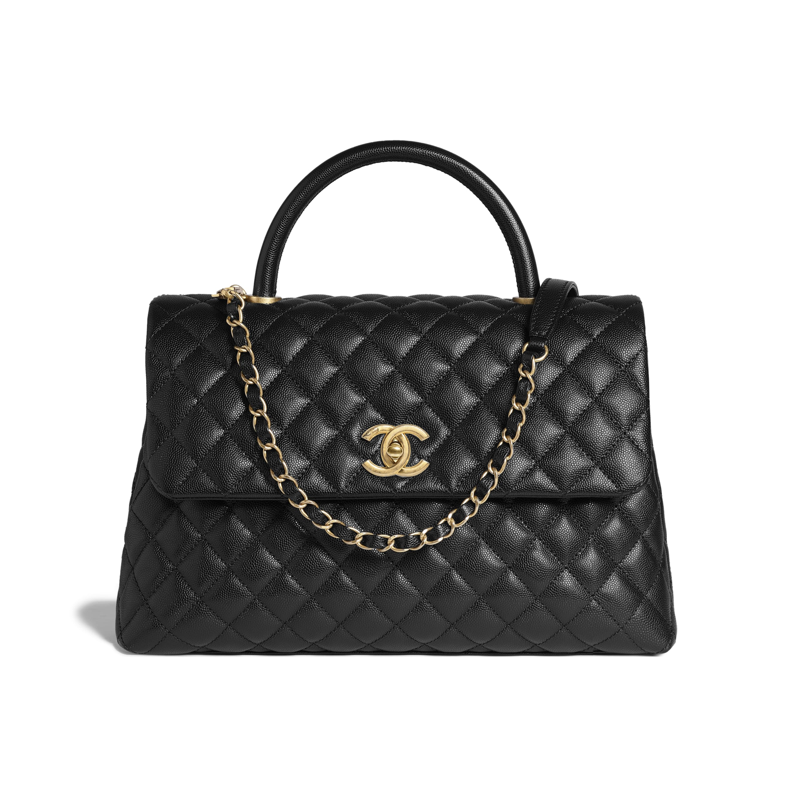 Large Flap Bag With Top Handle - Black - Grained Calfskin & Gold-Tone Metal - Default view - see standard sized version