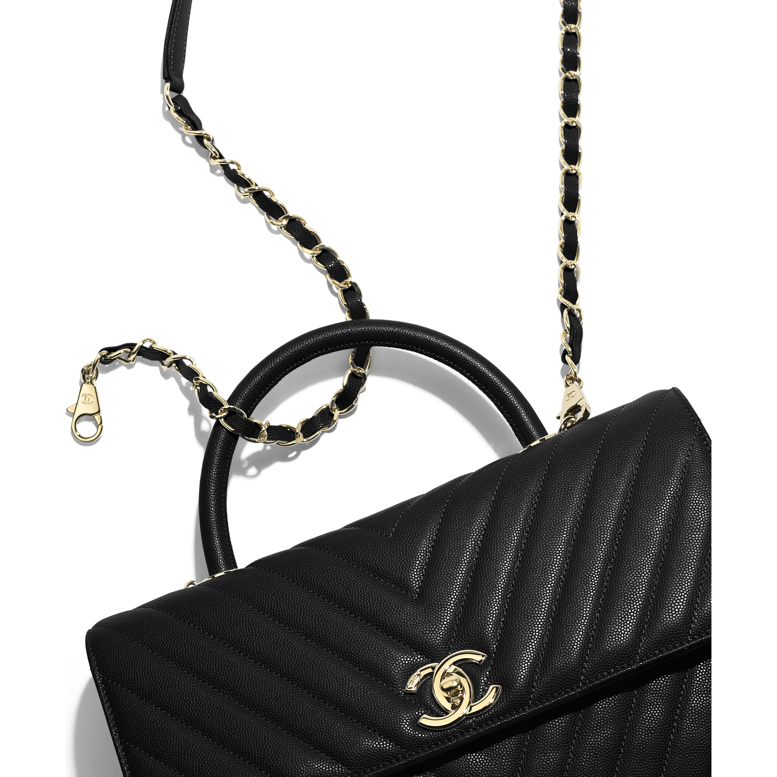Large Flap Bag with Top Handle - Black - Grained Calfskin & Gold-Tone Metal - CHANEL - Extra view - see standard sized version