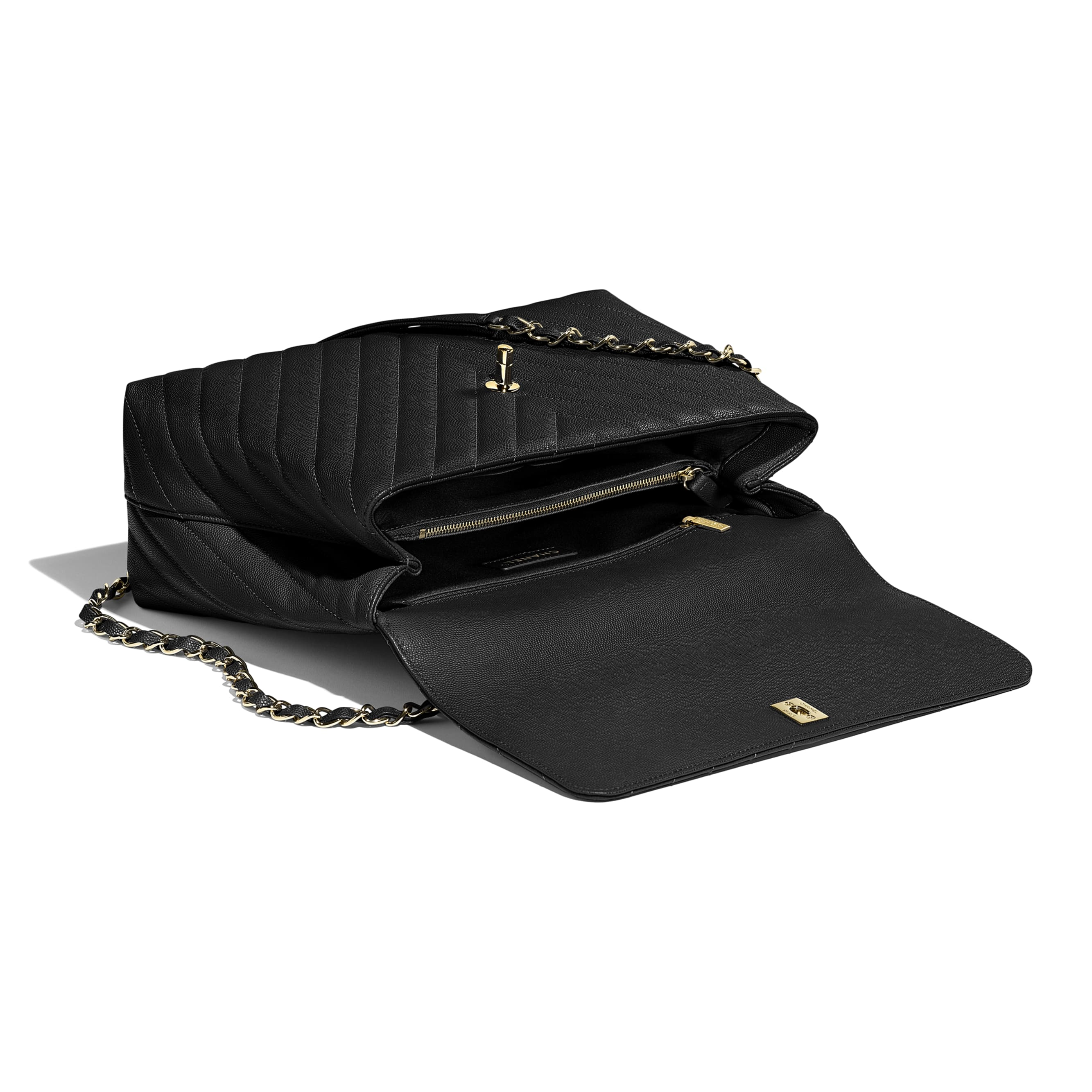 Large Flap Bag with Top Handle - Black - Grained Calfskin & Gold-Tone Metal - CHANEL - Other view - see standard sized version