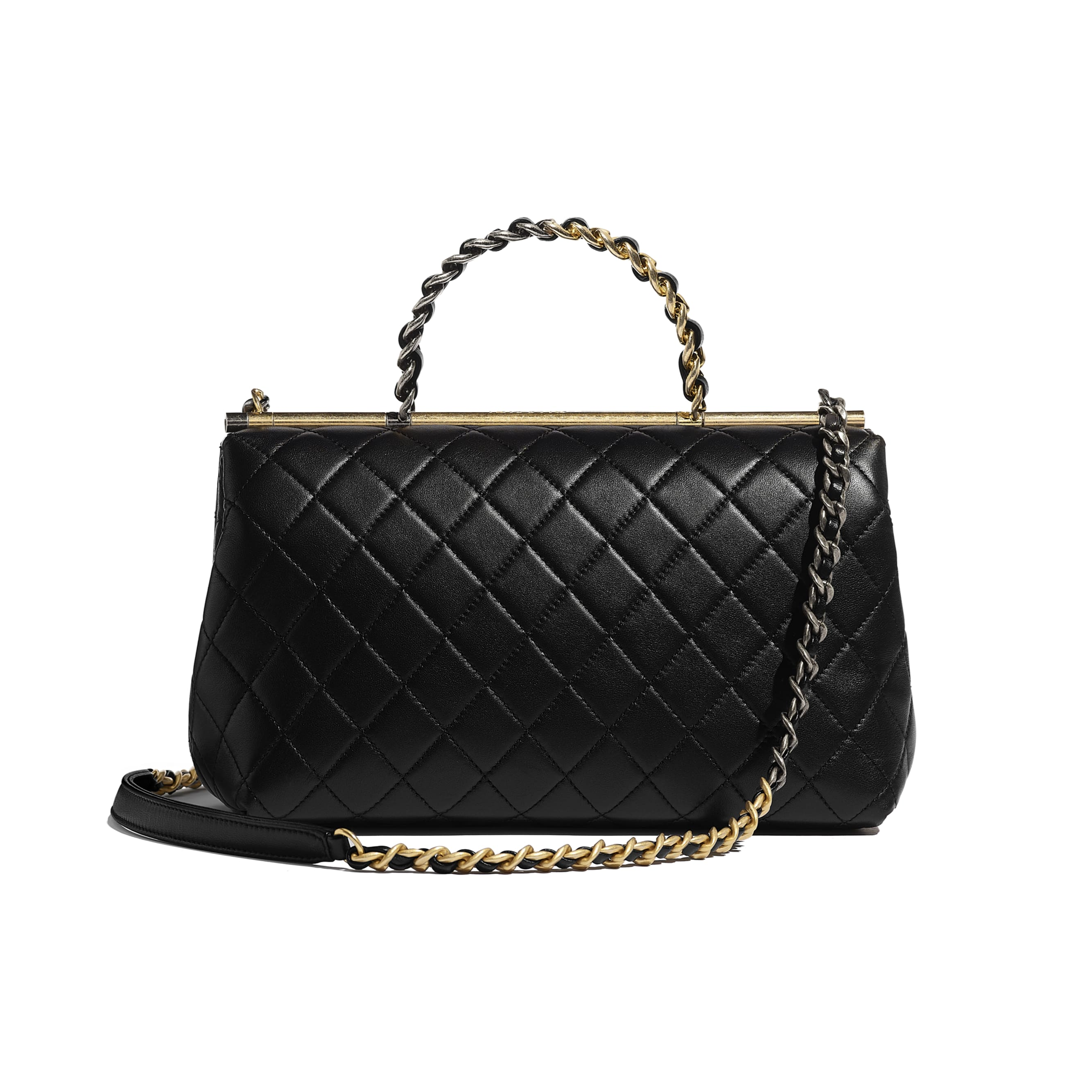Large Flap Bag With Top Handle - Black - Lambskin, Gold-Tone & Ruthenium-Finish Metal - Alternative view - see standard sized version
