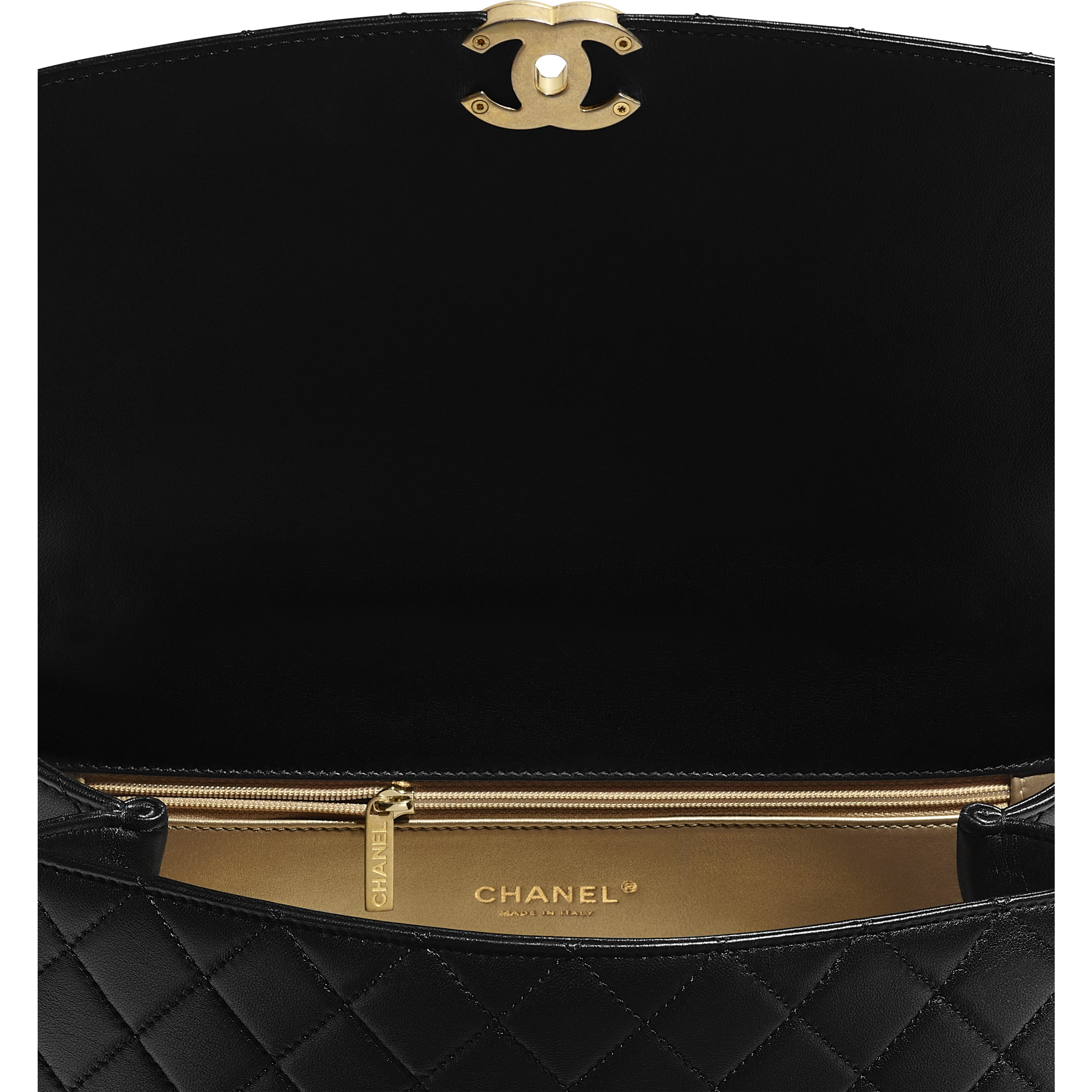 Large Flap Bag With Top Handle - Black - Lambskin, Gold-Tone & Ruthenium-Finish Metal - CHANEL - Extra view - see standard sized version