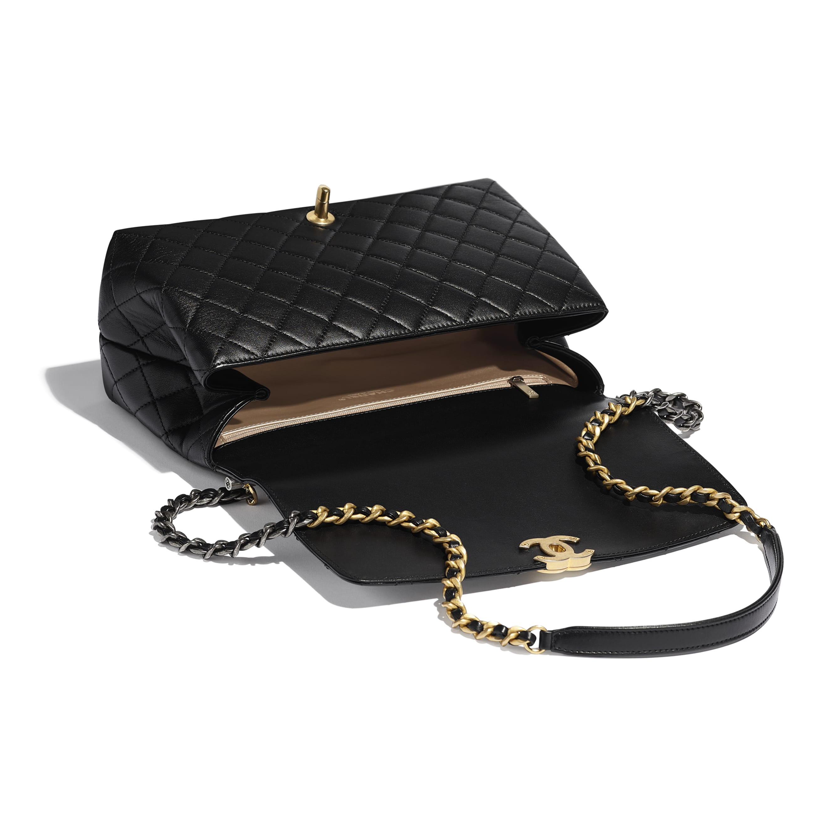 Large Flap Bag With Top Handle - Black - Lambskin, Gold-Tone & Ruthenium-Finish Metal - CHANEL - Other view - see standard sized version