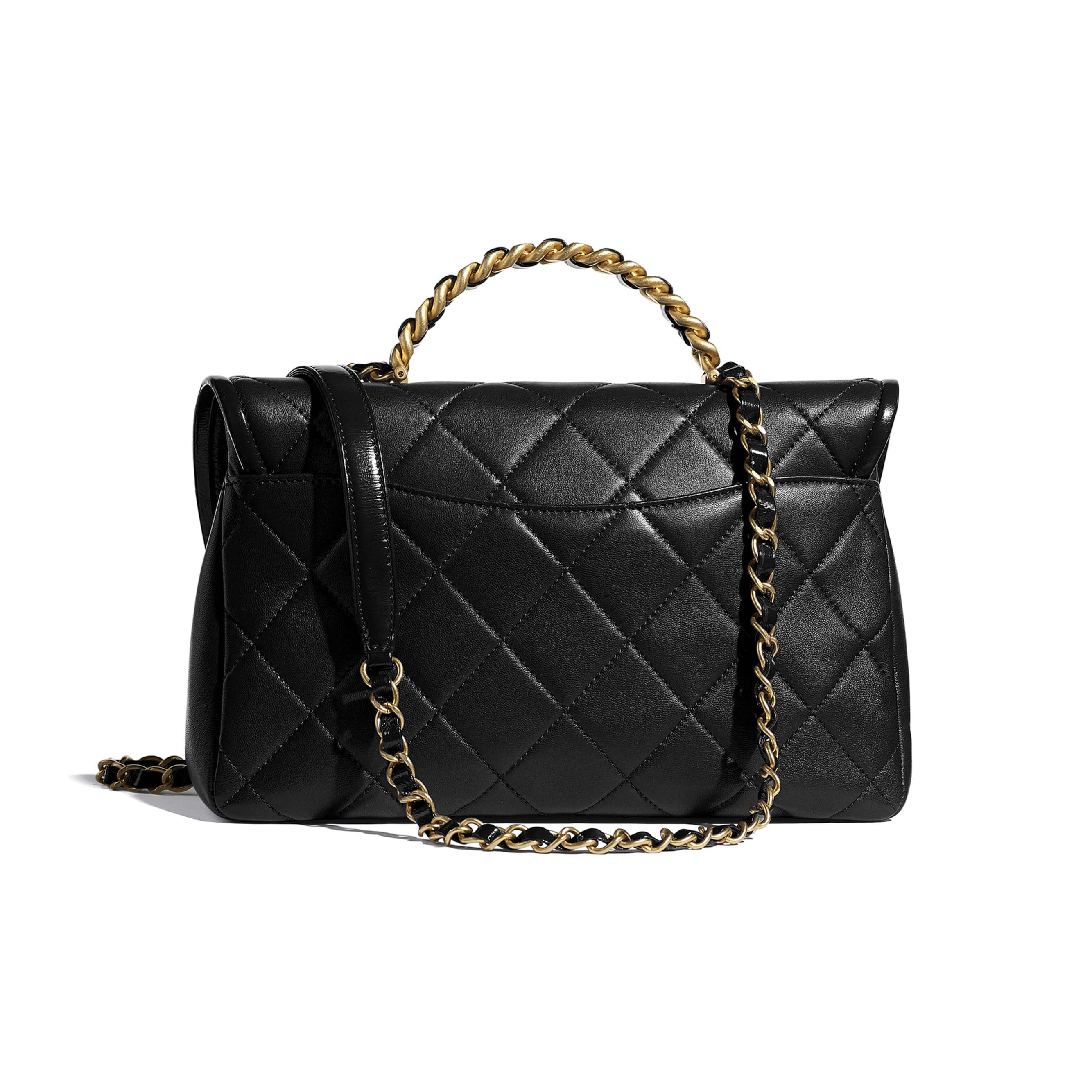 Large Flap Bag With Top Handle - Black - Lambskin, Shiny Crumpled Calfskin & Gold-Tone Metal - CHANEL - Alternative view - see standard sized version