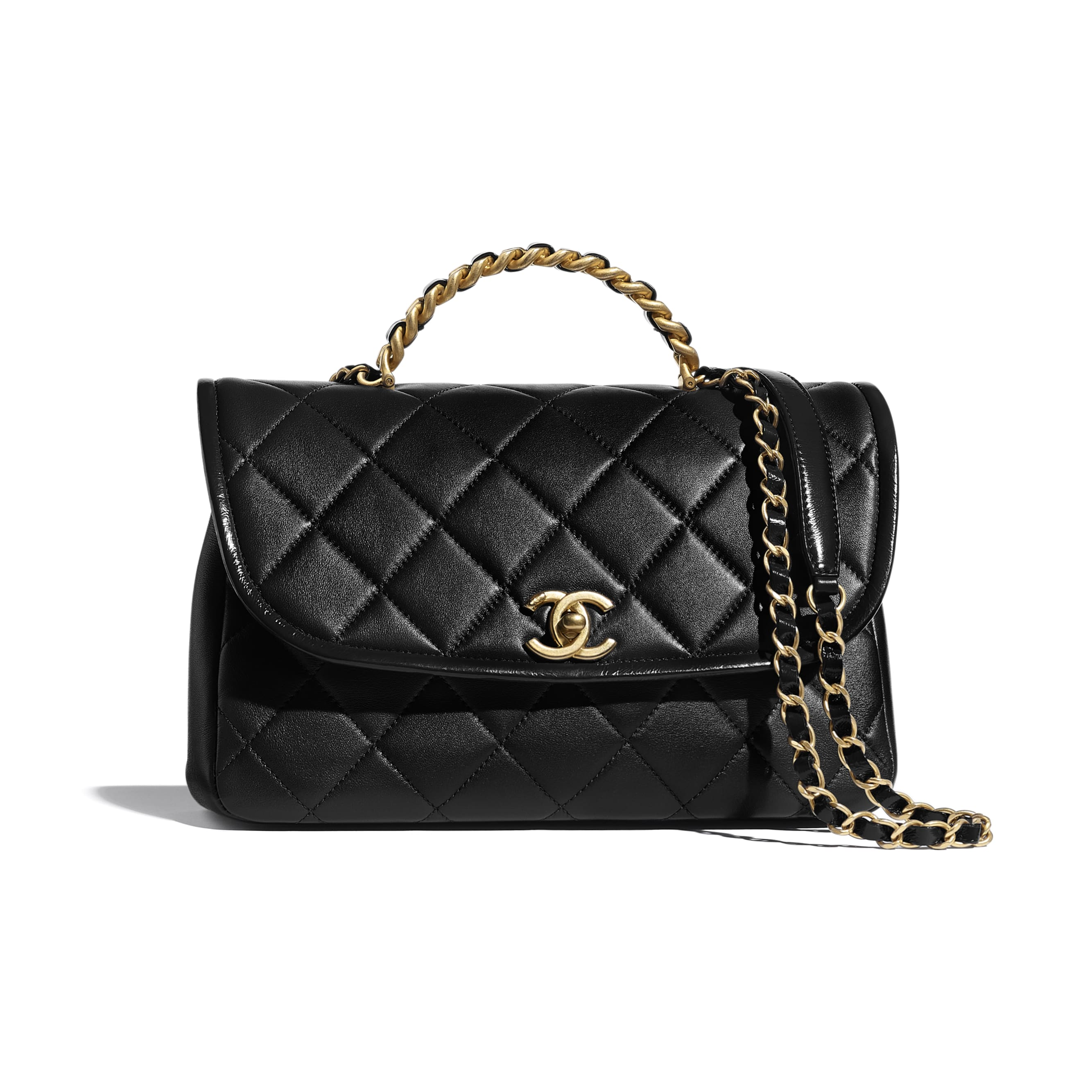 Large Flap Bag With Top Handle - Black - Lambskin, Shiny Crumpled Calfskin & Gold-Tone Metal - CHANEL - Default view - see standard sized version