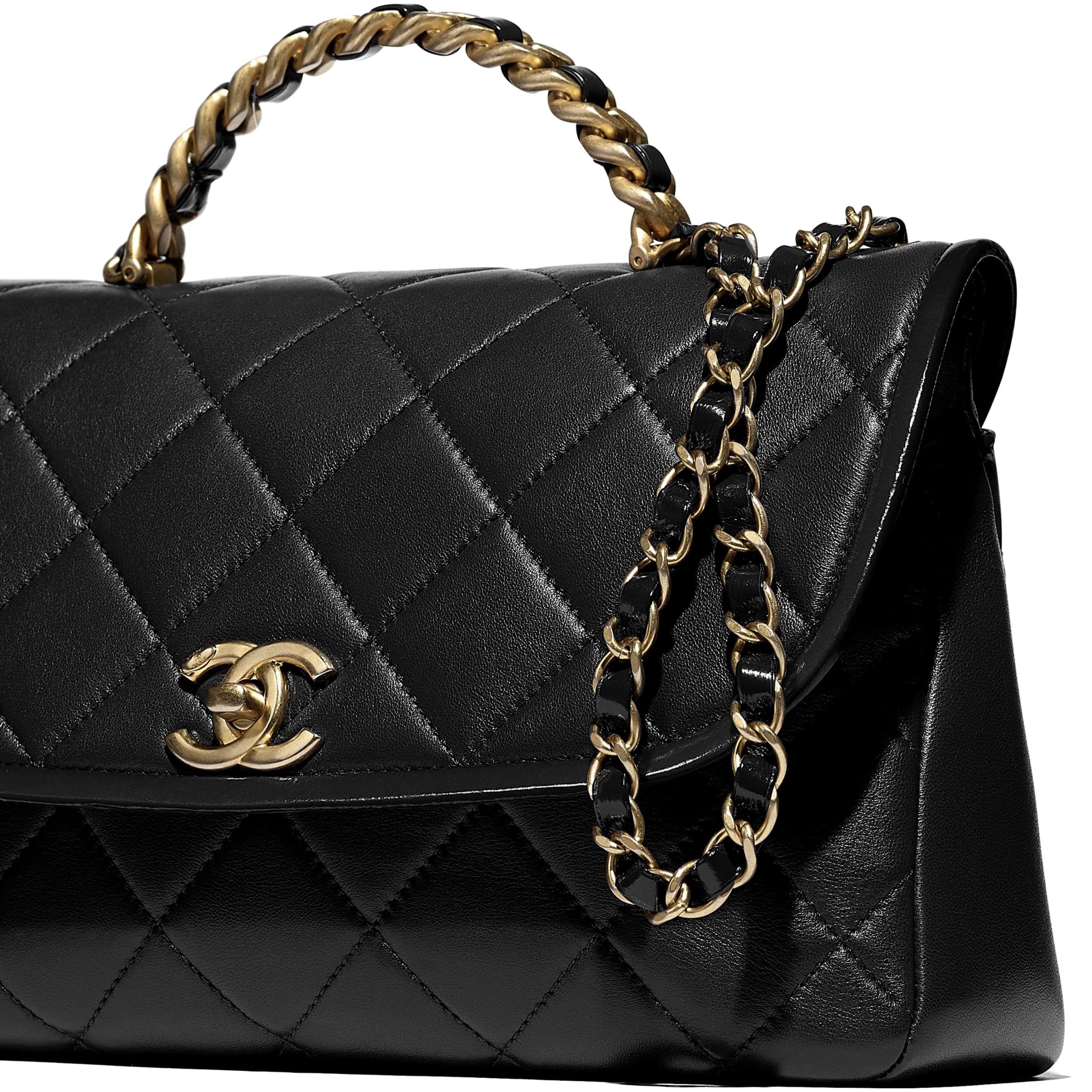 Large Flap Bag With Top Handle - Black - Lambskin, Shiny Crumpled Calfskin & Gold-Tone Metal - CHANEL - Extra view - see standard sized version