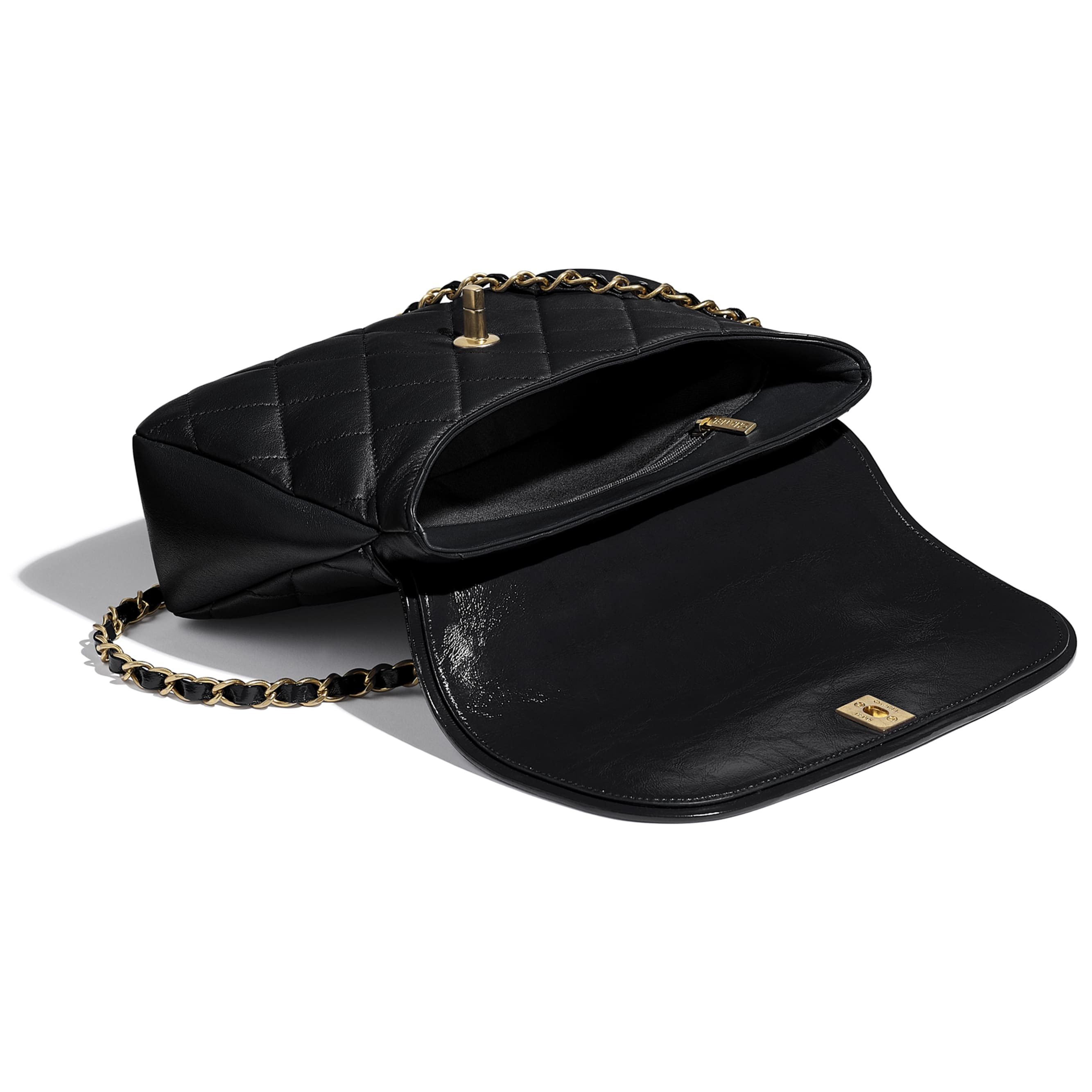 Large Flap Bag With Top Handle - Black - Lambskin, Shiny Crumpled Calfskin & Gold-Tone Metal - CHANEL - Other view - see standard sized version