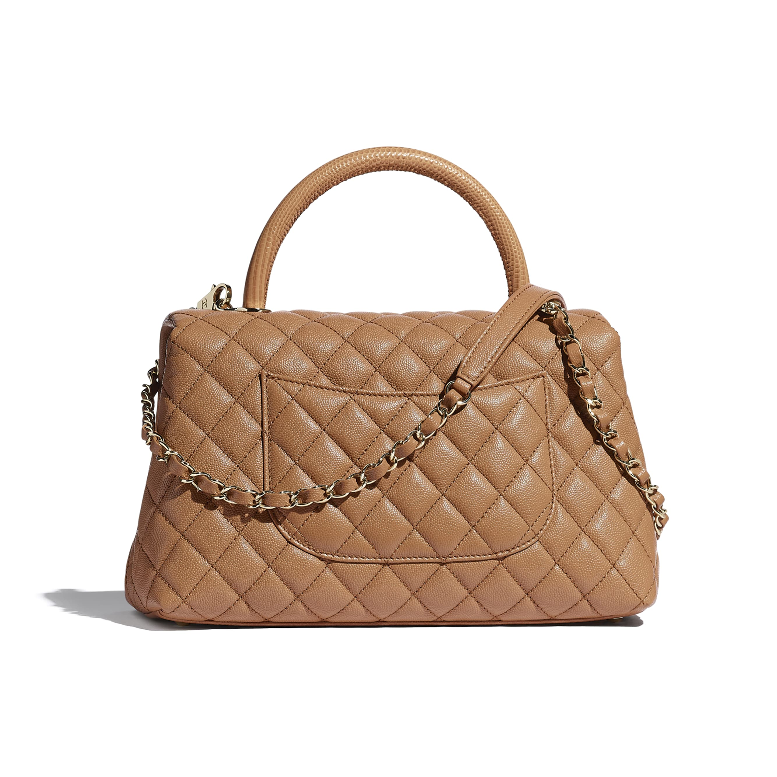 Large Flap Bag With Top Handle - Brown - Grained Calfskin, Lizard Embossed Calfskin & Gold-Tone Metal - CHANEL - Alternative view - see standard sized version