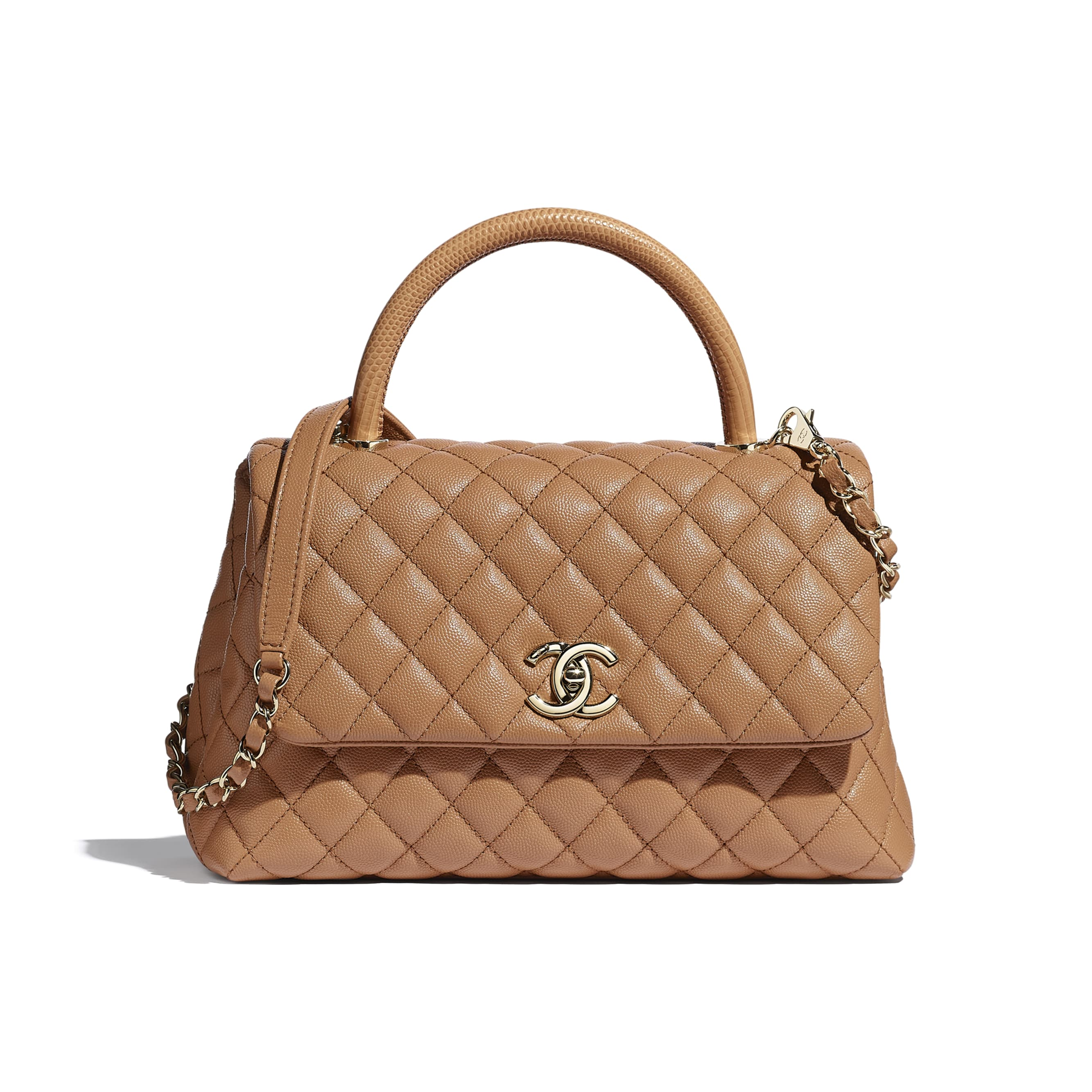 Large Flap Bag With Top Handle - Brown - Grained Calfskin, Lizard Embossed Calfskin & Gold-Tone Metal - CHANEL - Default view - see standard sized version