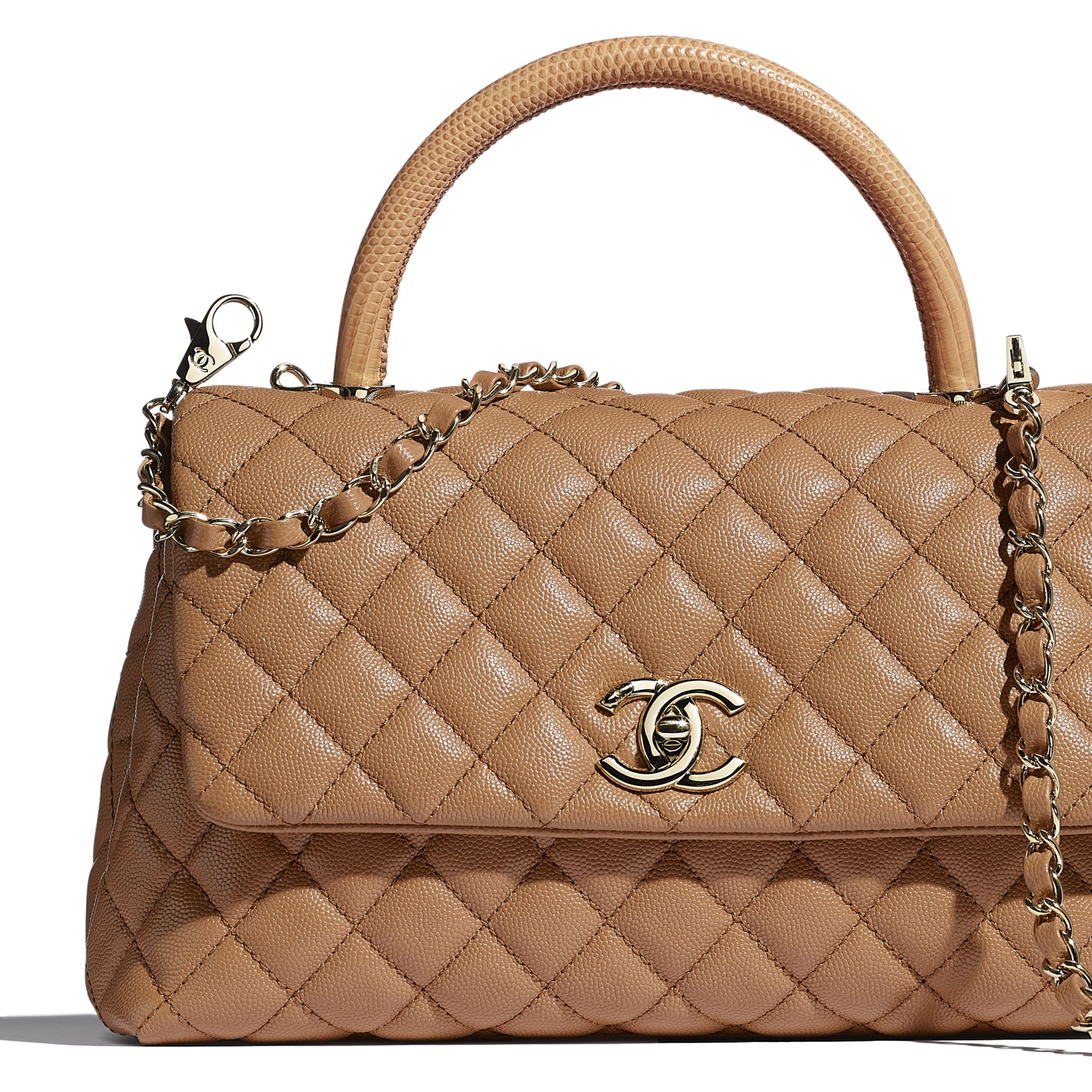 Large Flap Bag With Top Handle - Brown - Grained Calfskin, Lizard Embossed Calfskin & Gold-Tone Metal - CHANEL - Extra view - see standard sized version