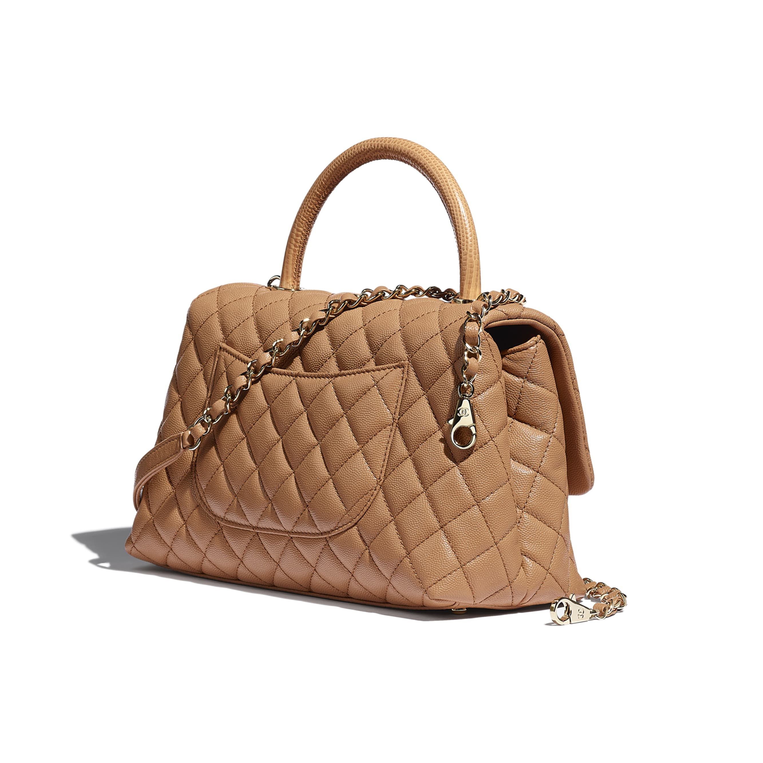 Large Flap Bag With Top Handle - Brown - Grained Calfskin, Lizard Embossed Calfskin & Gold-Tone Metal - CHANEL - Other view - see standard sized version