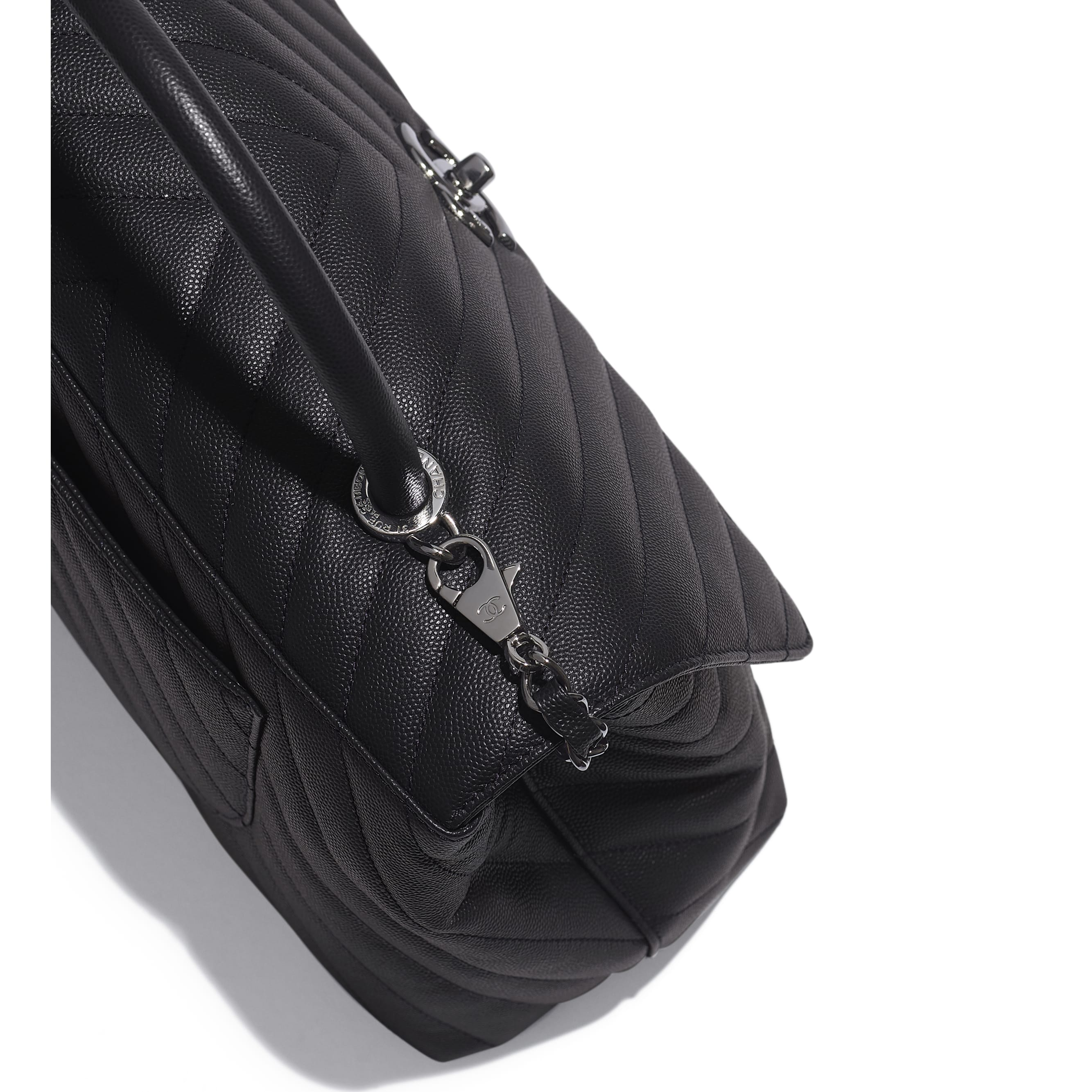 Large Flap Bag With Top Handle - Grey - Grained Calfskin & Ruthenium-Finish Metal - Extra view - see standard sized version