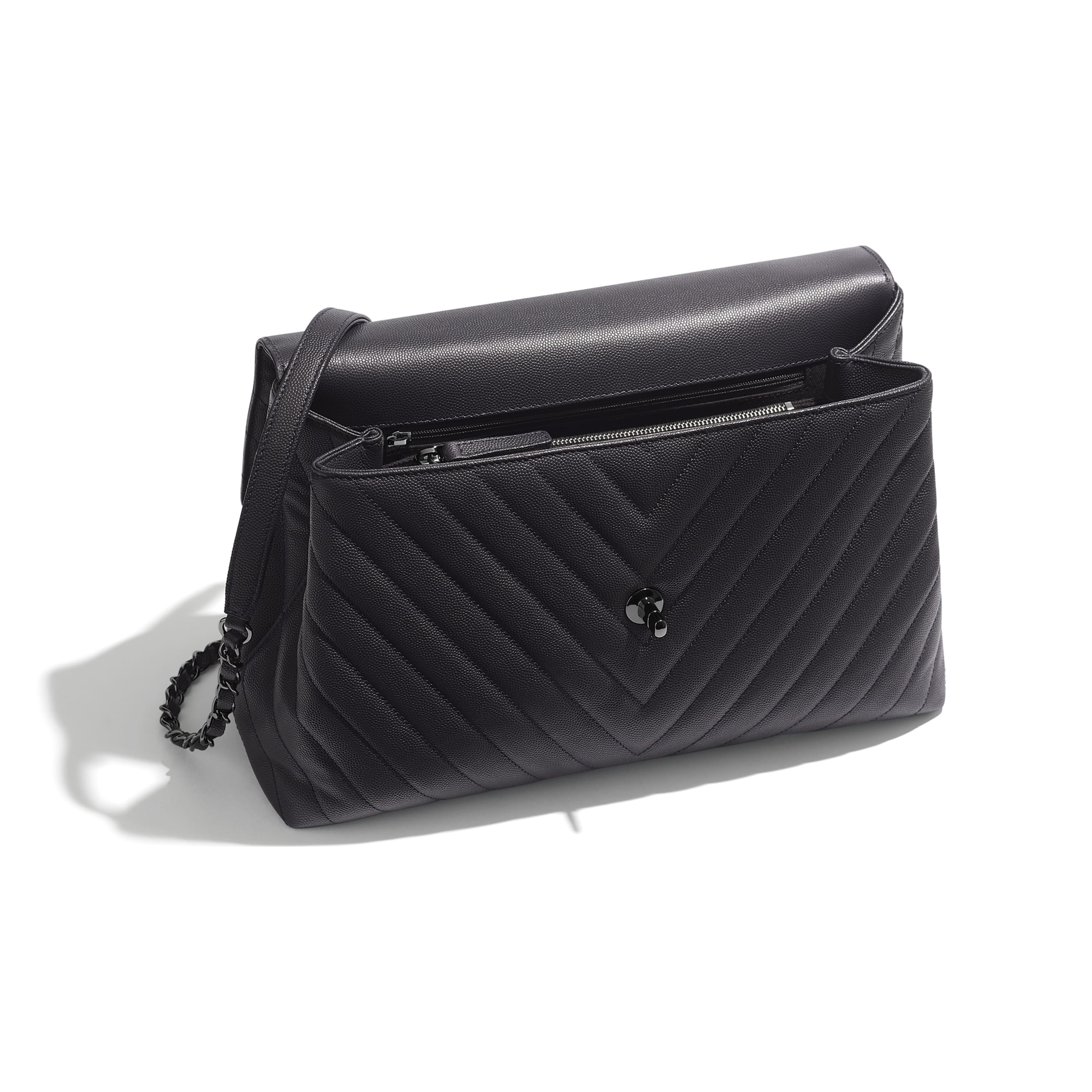 Large Flap Bag With Top Handle - Grey - Grained Calfskin & Ruthenium-Finish Metal - Other view - see standard sized version