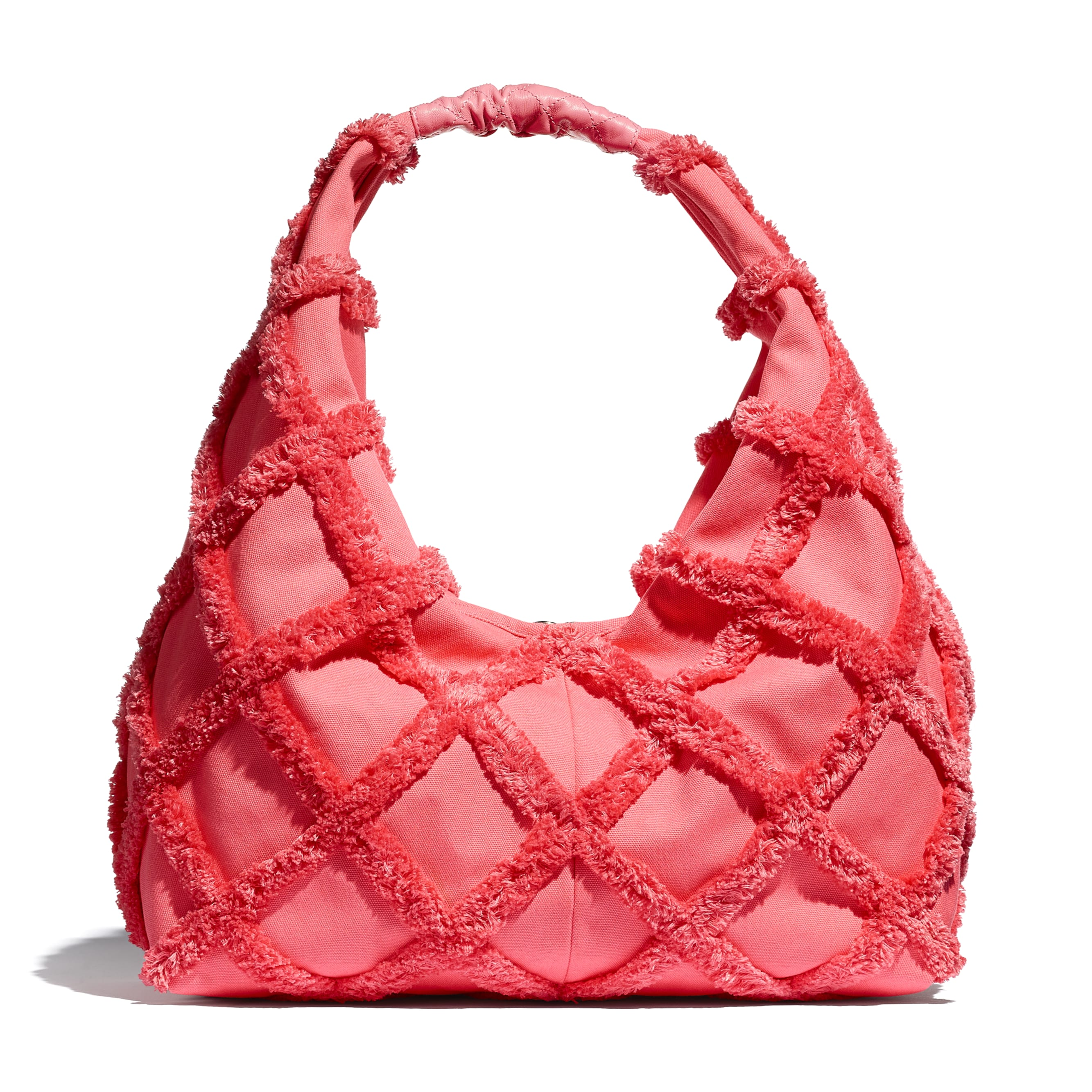 Large Hobo Bag - Coral - Cotton Canvas, Calfskin & Gold-Tone Metal - CHANEL - Alternative view - see standard sized version