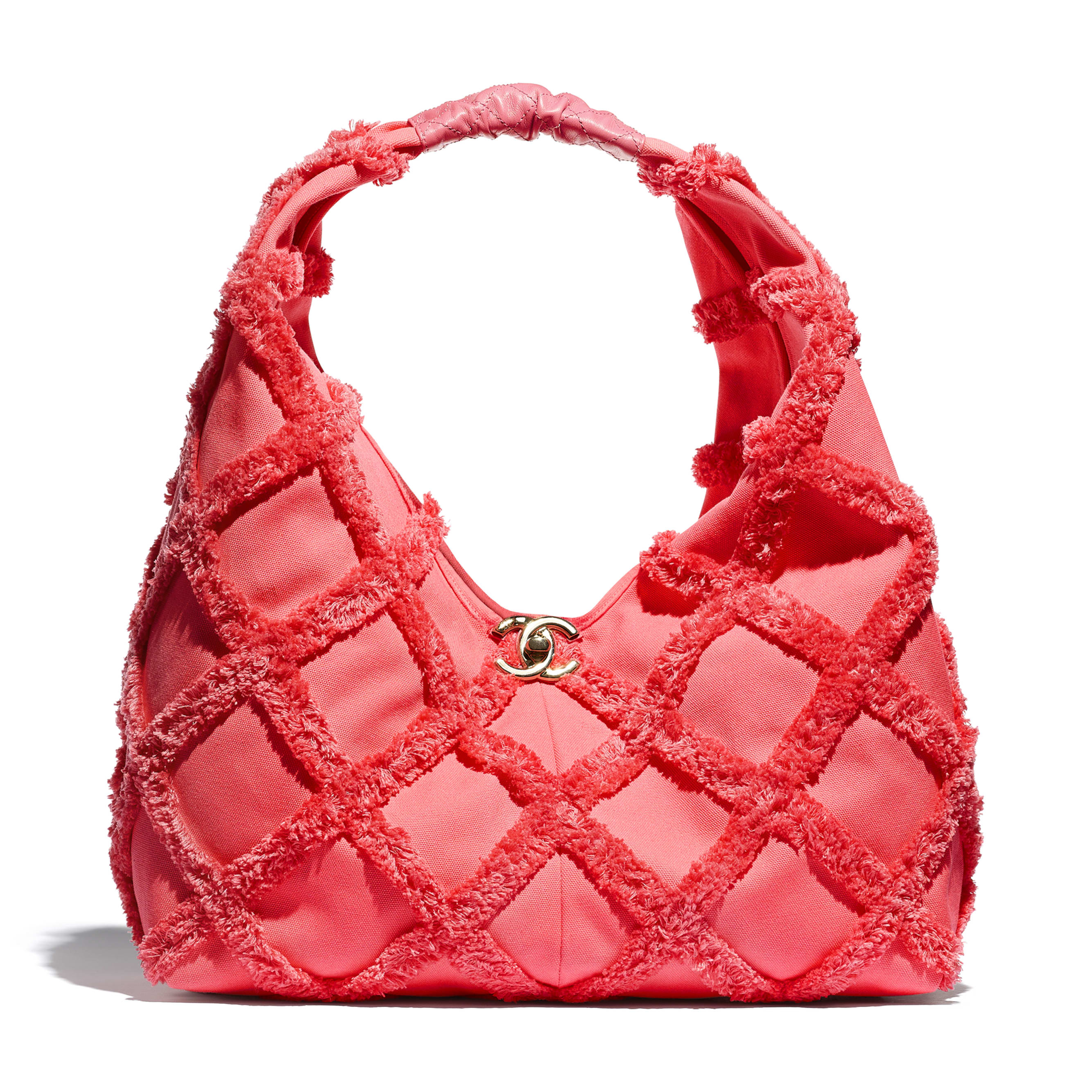 Large Hobo Bag - Coral - Cotton Canvas, Calfskin & Gold-Tone Metal - CHANEL - Default view - see standard sized version