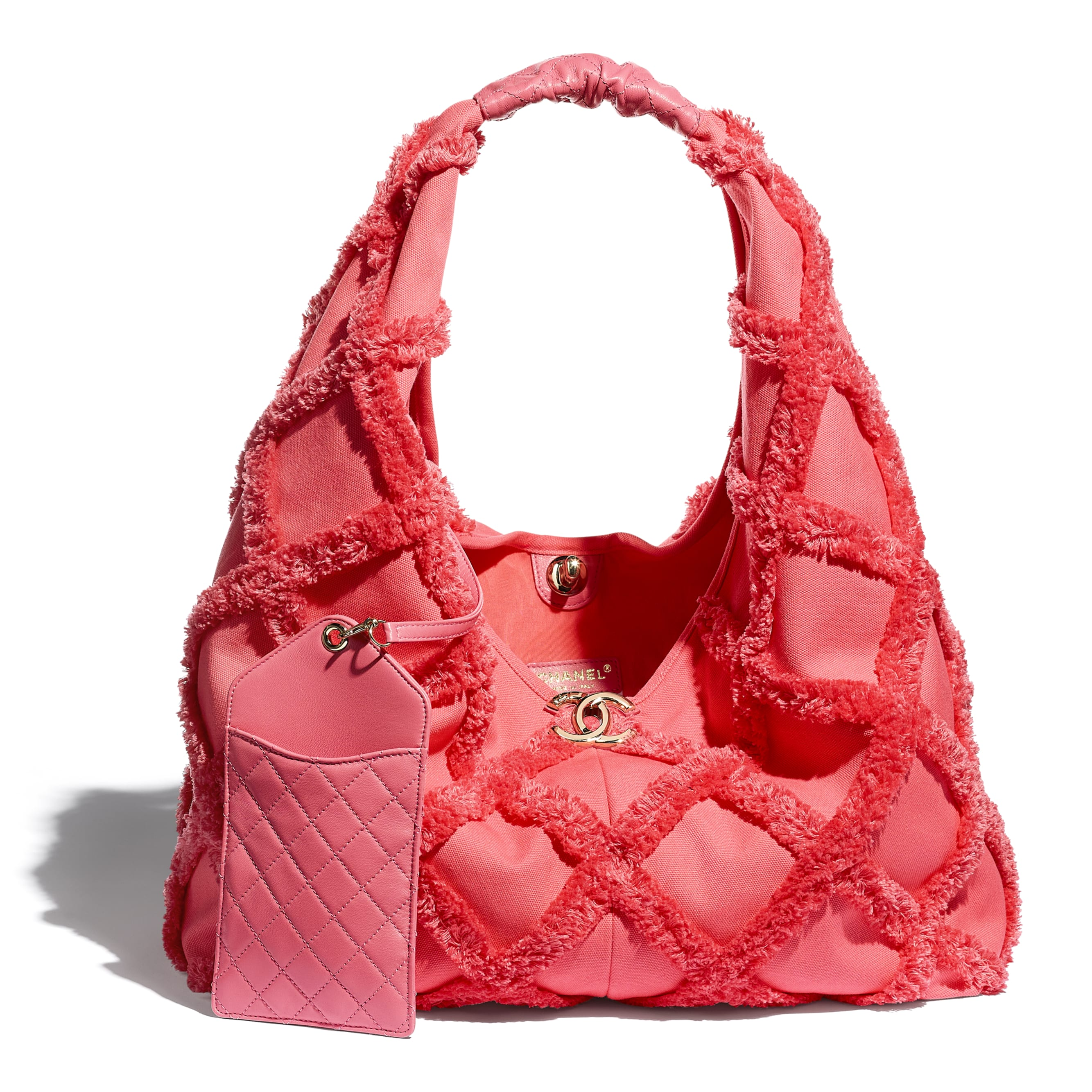 Large Hobo Bag - Coral - Cotton Canvas, Calfskin & Gold-Tone Metal - CHANEL - Other view - see standard sized version