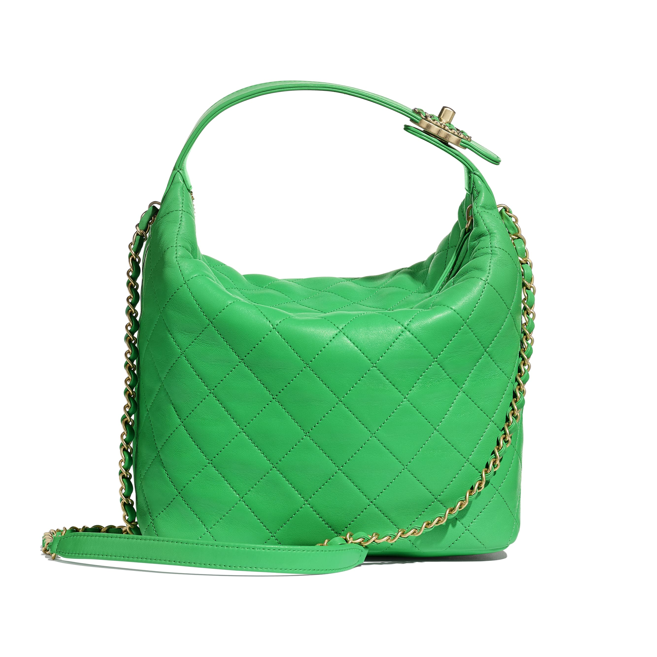 Large Hobo Bag - Green - Lambskin & Gold Metal  - Alternative view - see standard sized version
