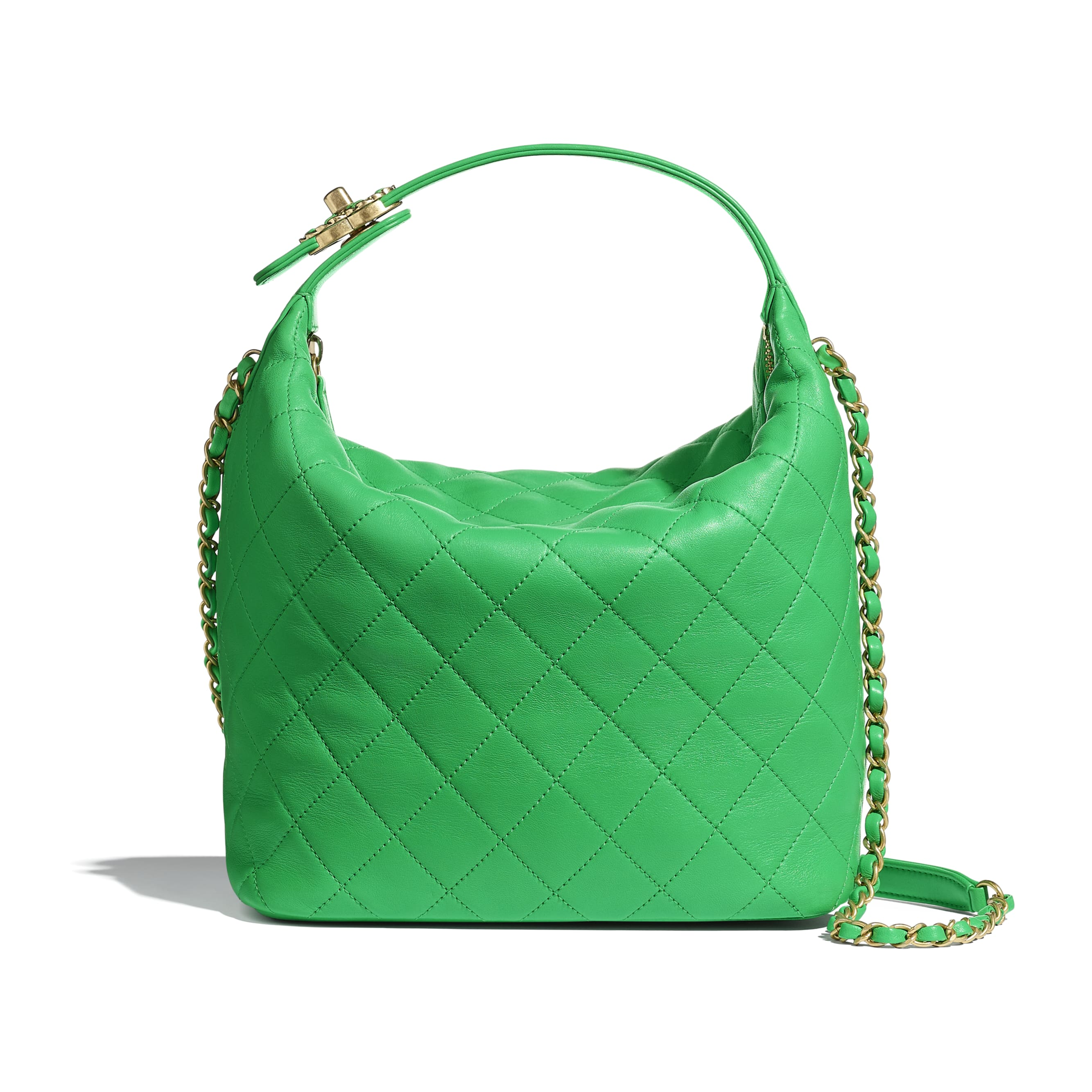 Large Hobo Bag - Green - Lambskin & Gold Metal  - Default view - see standard sized version