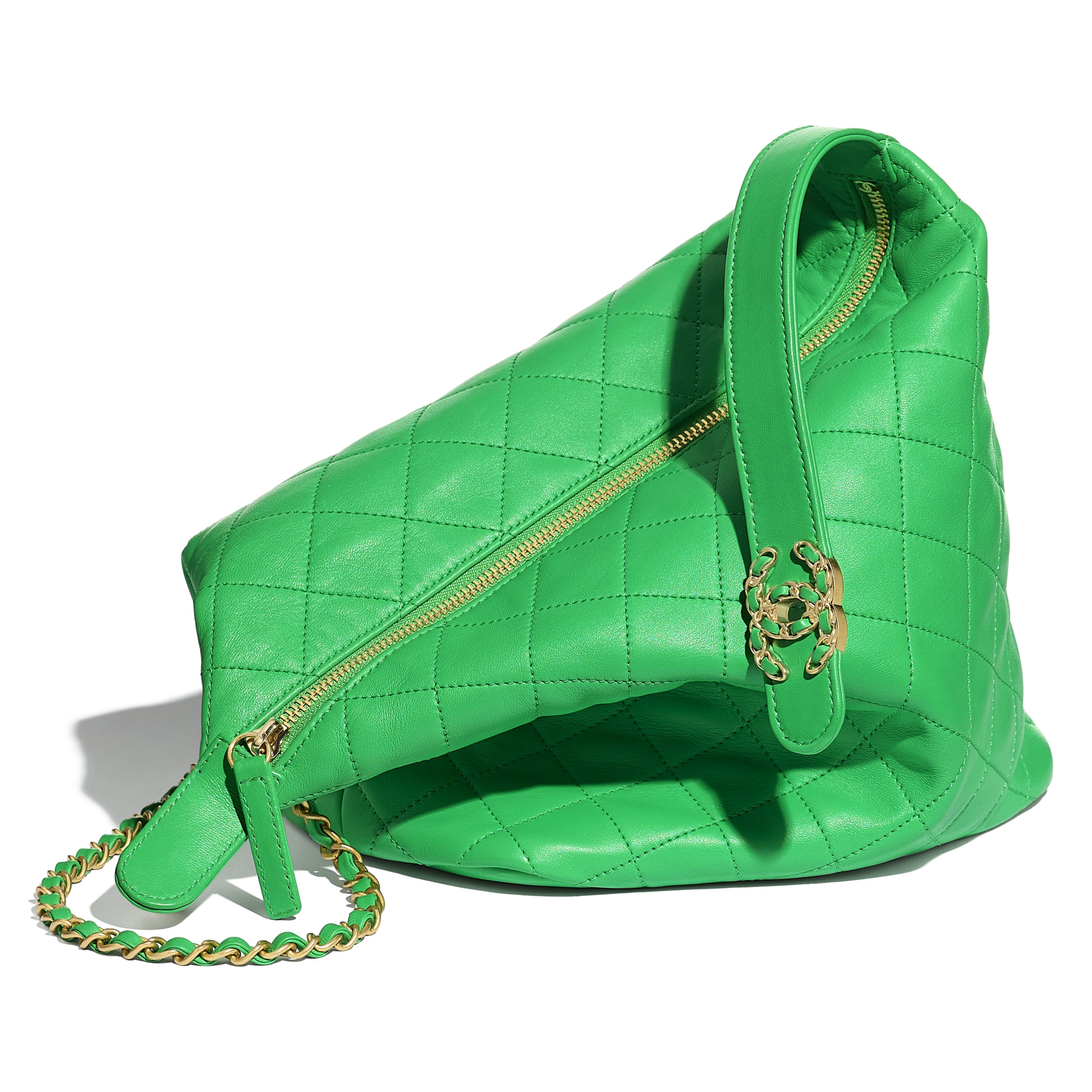 Large Hobo Bag - Green - Lambskin & Gold Metal  - Extra view - see standard sized version