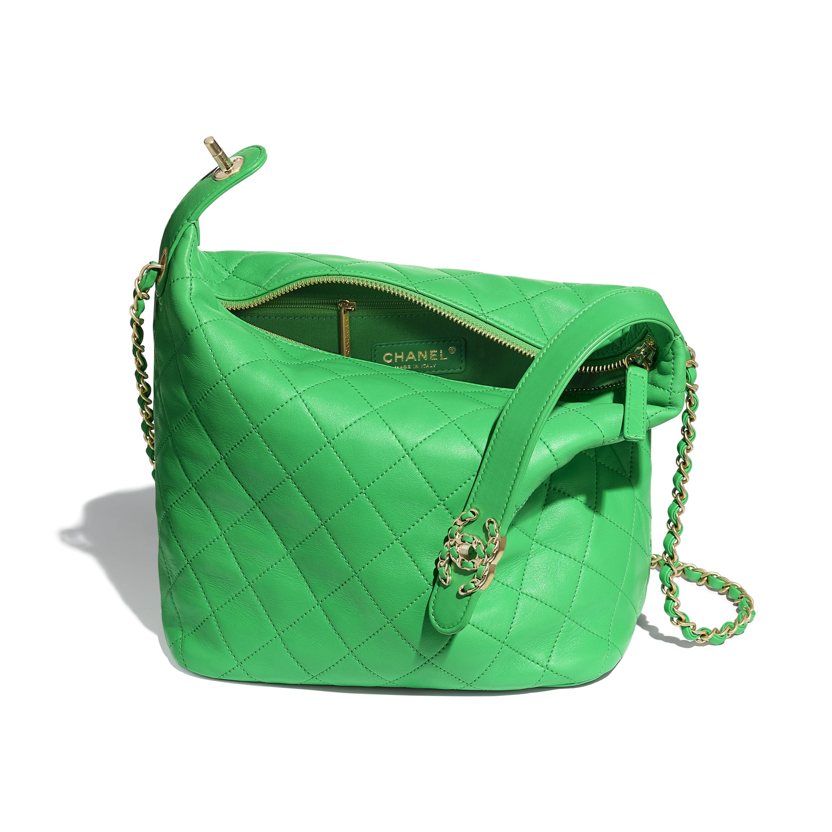 Large Hobo Bag - Green - Lambskin & Gold Metal  - Other view - see standard sized version