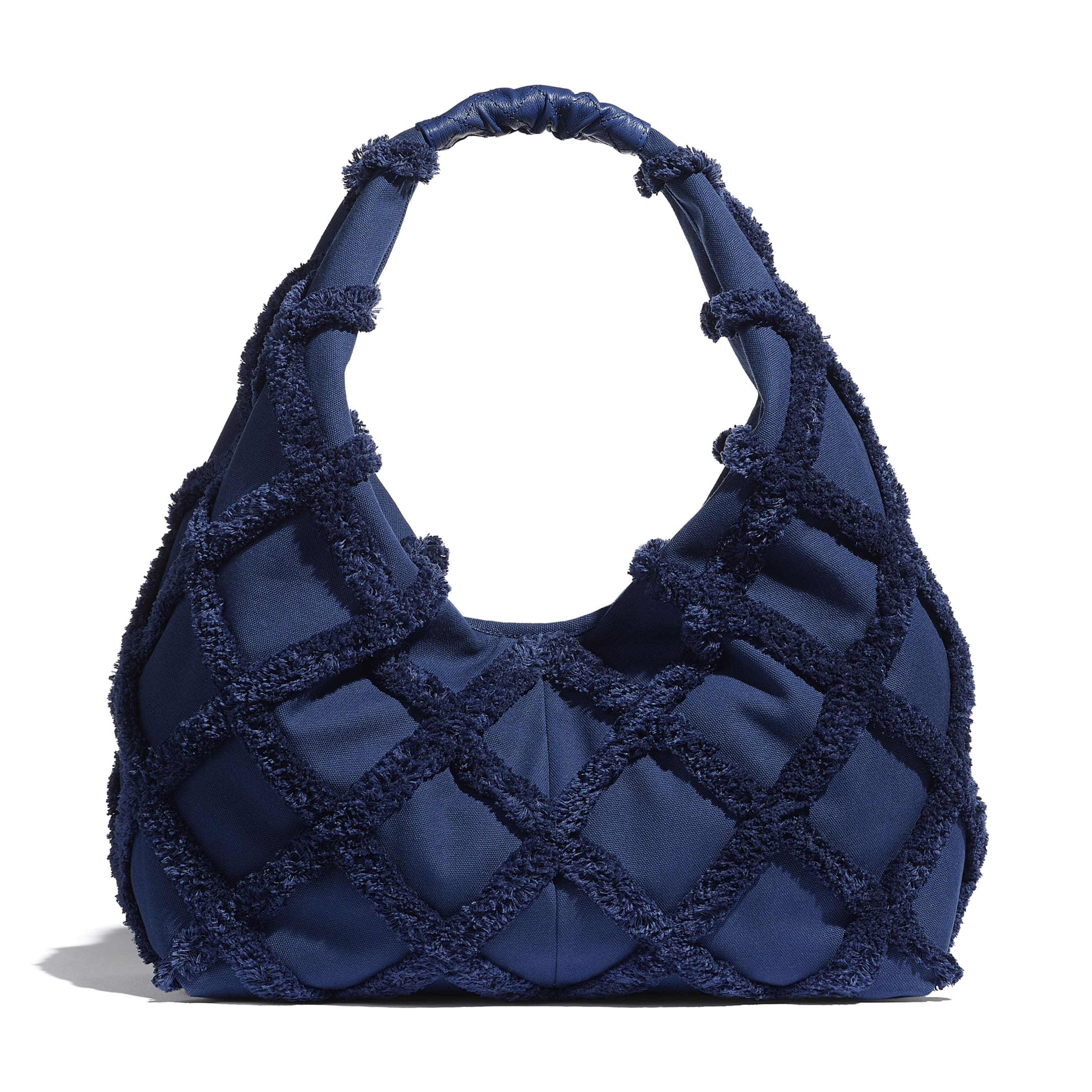 Large Hobo Bag - Navy Blue - Cotton Canvas, Calfskin & Gold-Tone Metal - CHANEL - Alternative view - see standard sized version