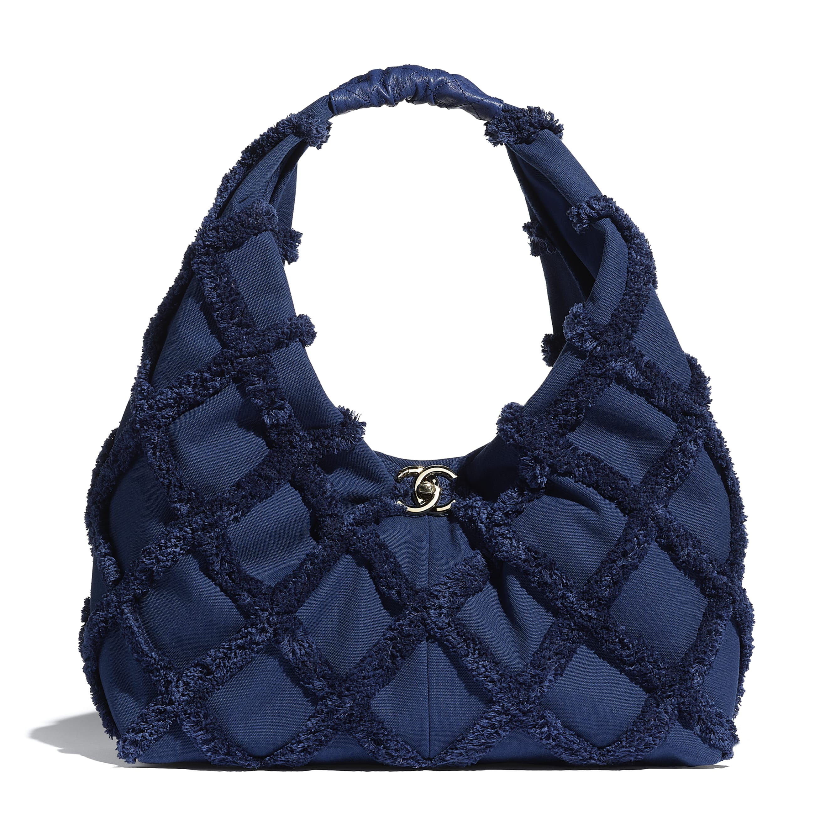 Large Hobo Bag - Navy Blue - Cotton Canvas, Calfskin & Gold-Tone Metal - CHANEL - Default view - see standard sized version