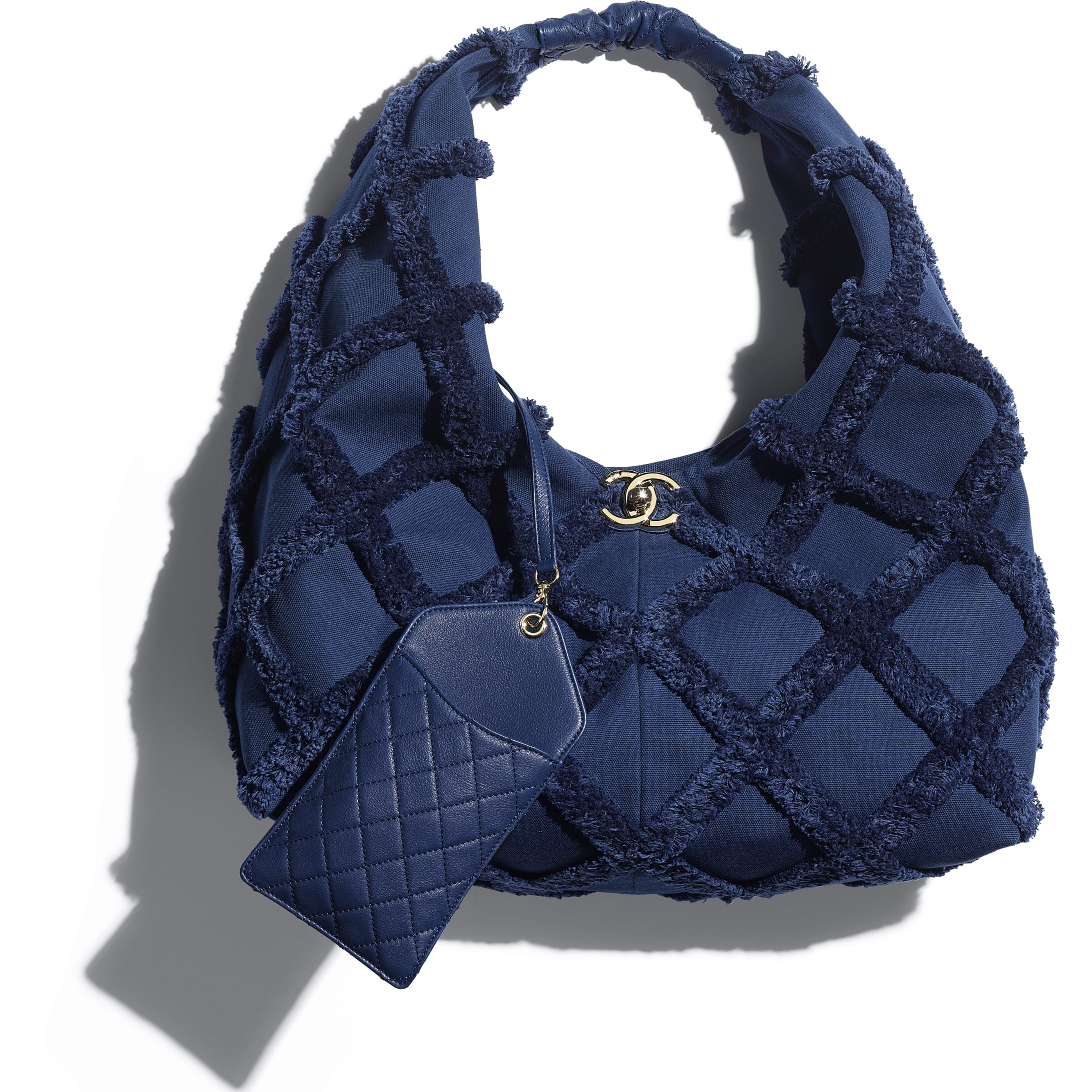 Large Hobo Bag - Navy Blue - Cotton Canvas, Calfskin & Gold-Tone Metal - CHANEL - Extra view - see standard sized version