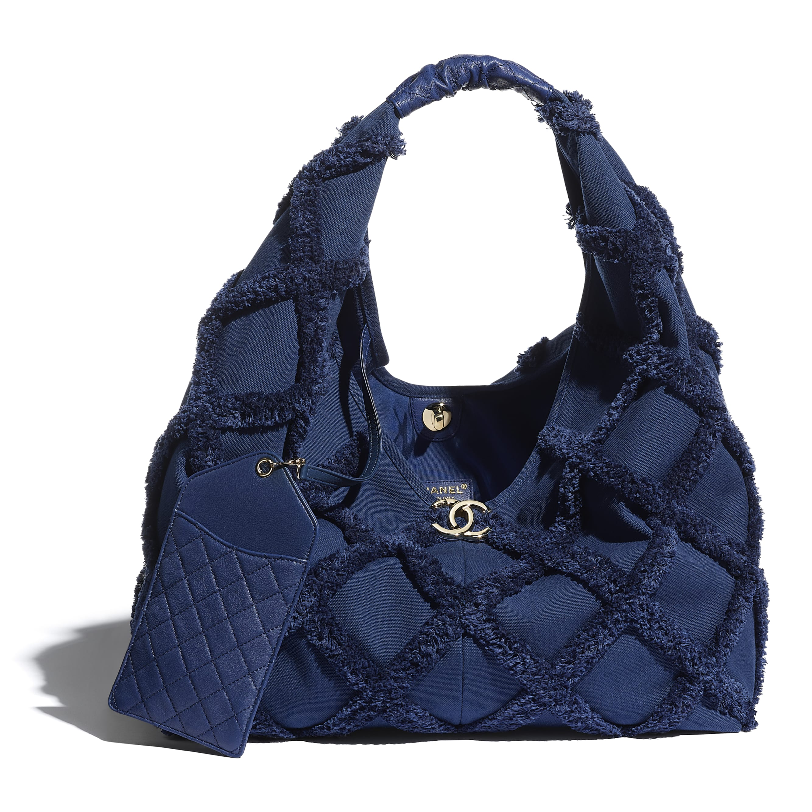 Large Hobo Bag - Navy Blue - Cotton Canvas, Calfskin & Gold-Tone Metal - CHANEL - Other view - see standard sized version