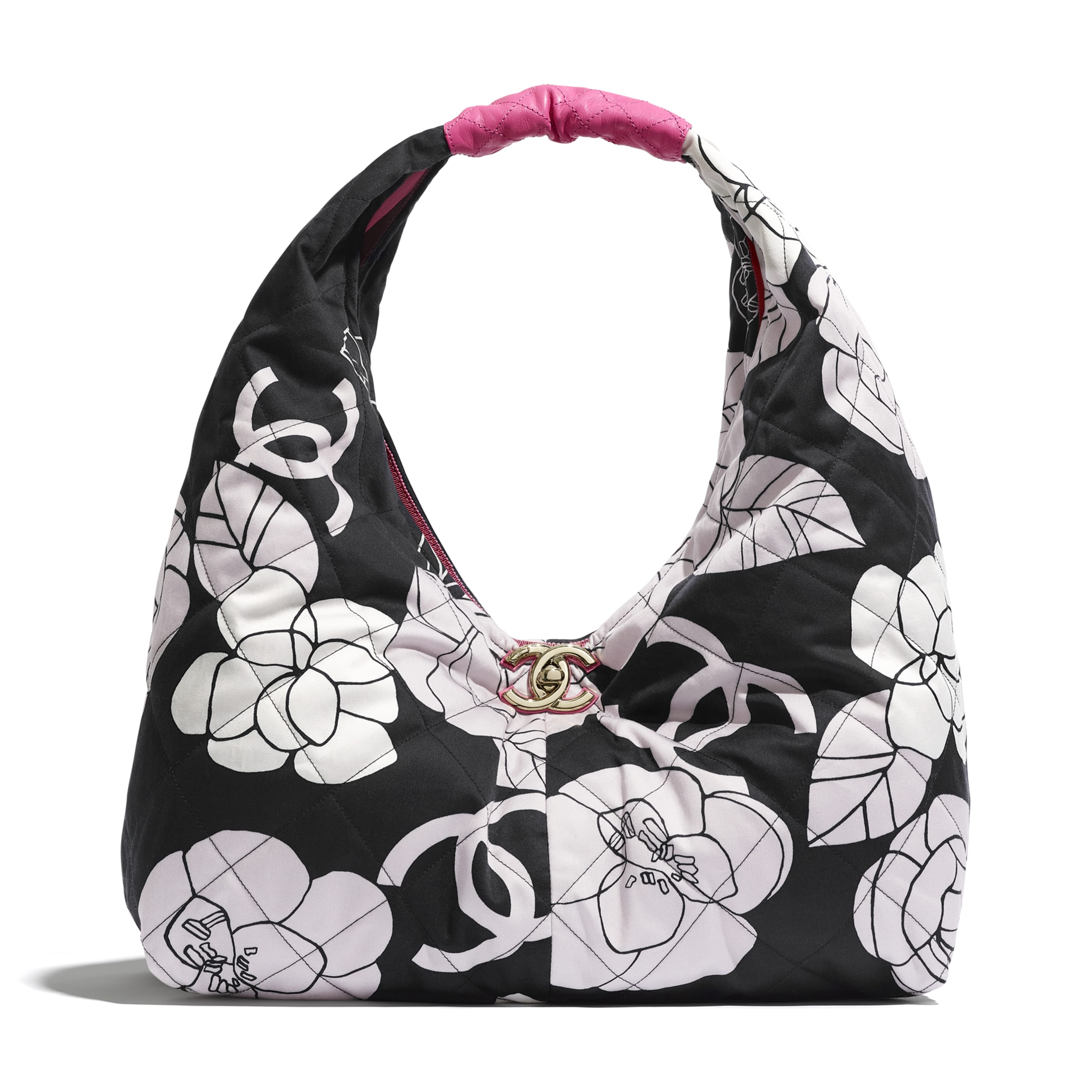 Large Hobo Bag - White, Black & Pink - Cotton Canvas, Calfskin & Gold-Tone Metal - CHANEL - Default view - see standard sized version