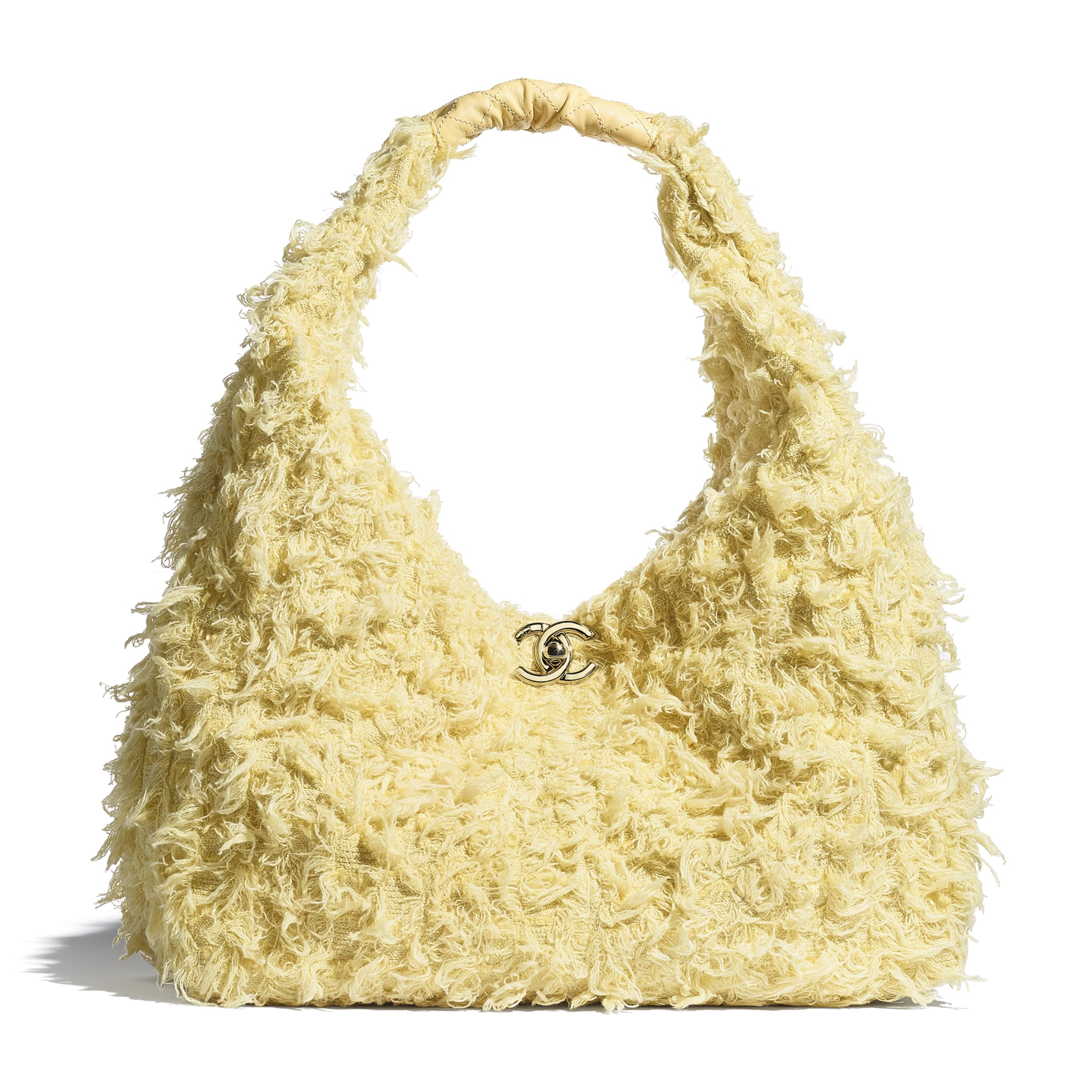 Large Hobo Bag - Yellow - Tweed, Calfskin & Gold-Tone Metal - CHANEL - Default view - see standard sized version