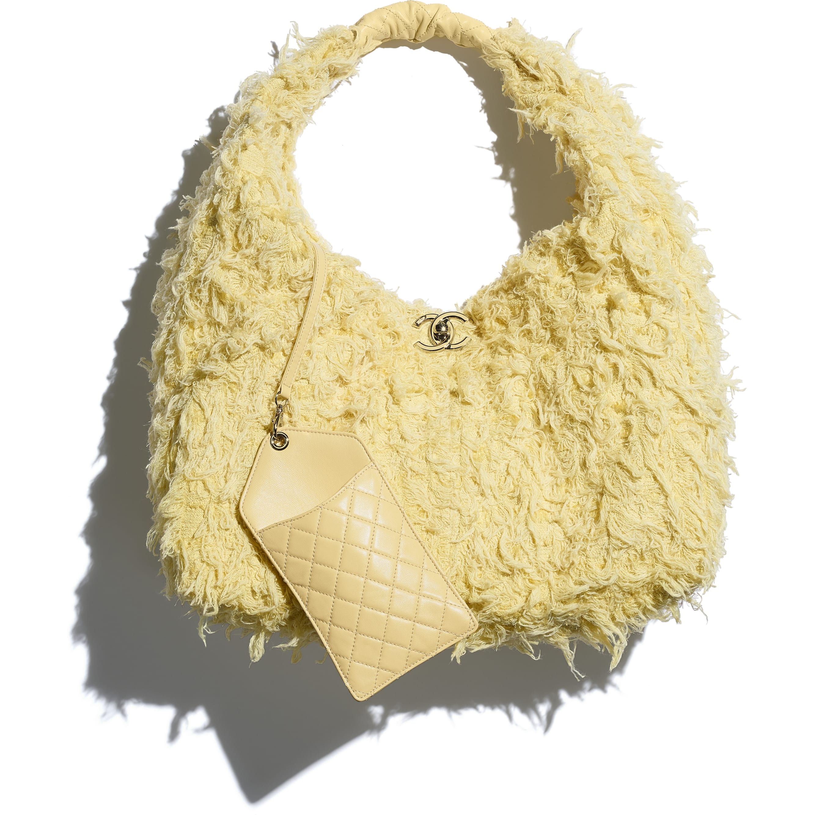 Large Hobo Bag - Yellow - Tweed, Calfskin & Gold-Tone Metal - CHANEL - Extra view - see standard sized version