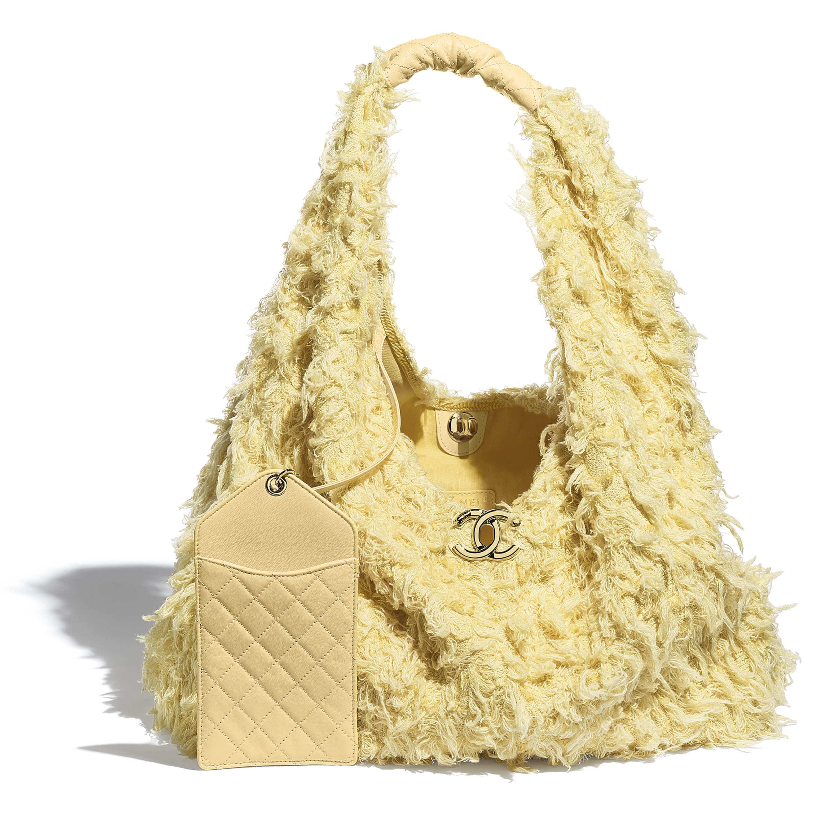 Large Hobo Bag - Yellow - Tweed, Calfskin & Gold-Tone Metal - CHANEL - Other view - see standard sized version