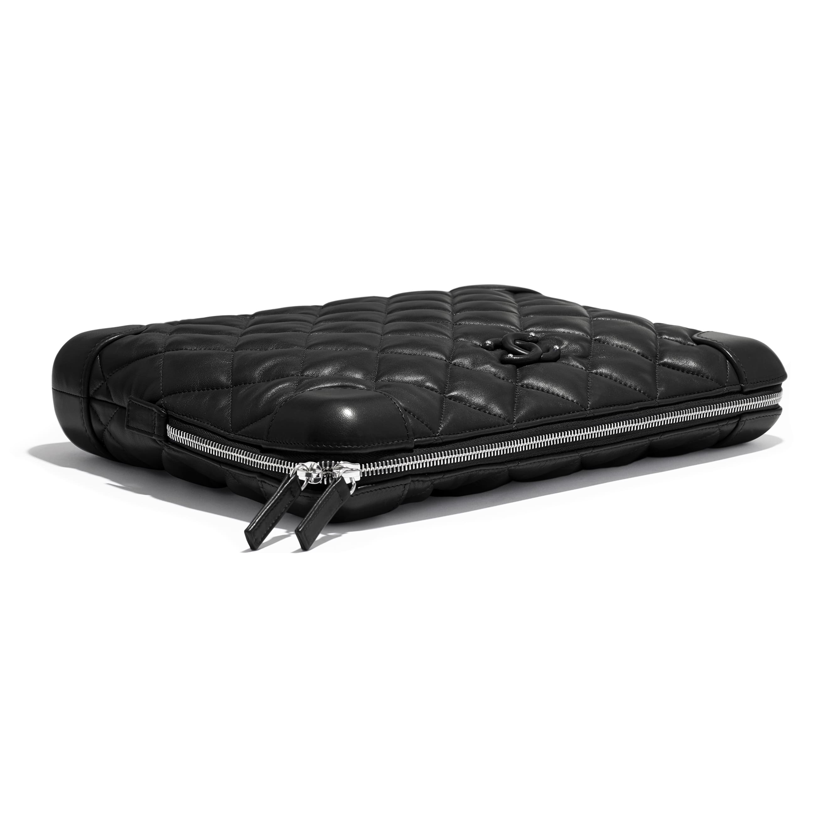 Large Clutch - Black - Lambskin - Extra view - see standard sized version