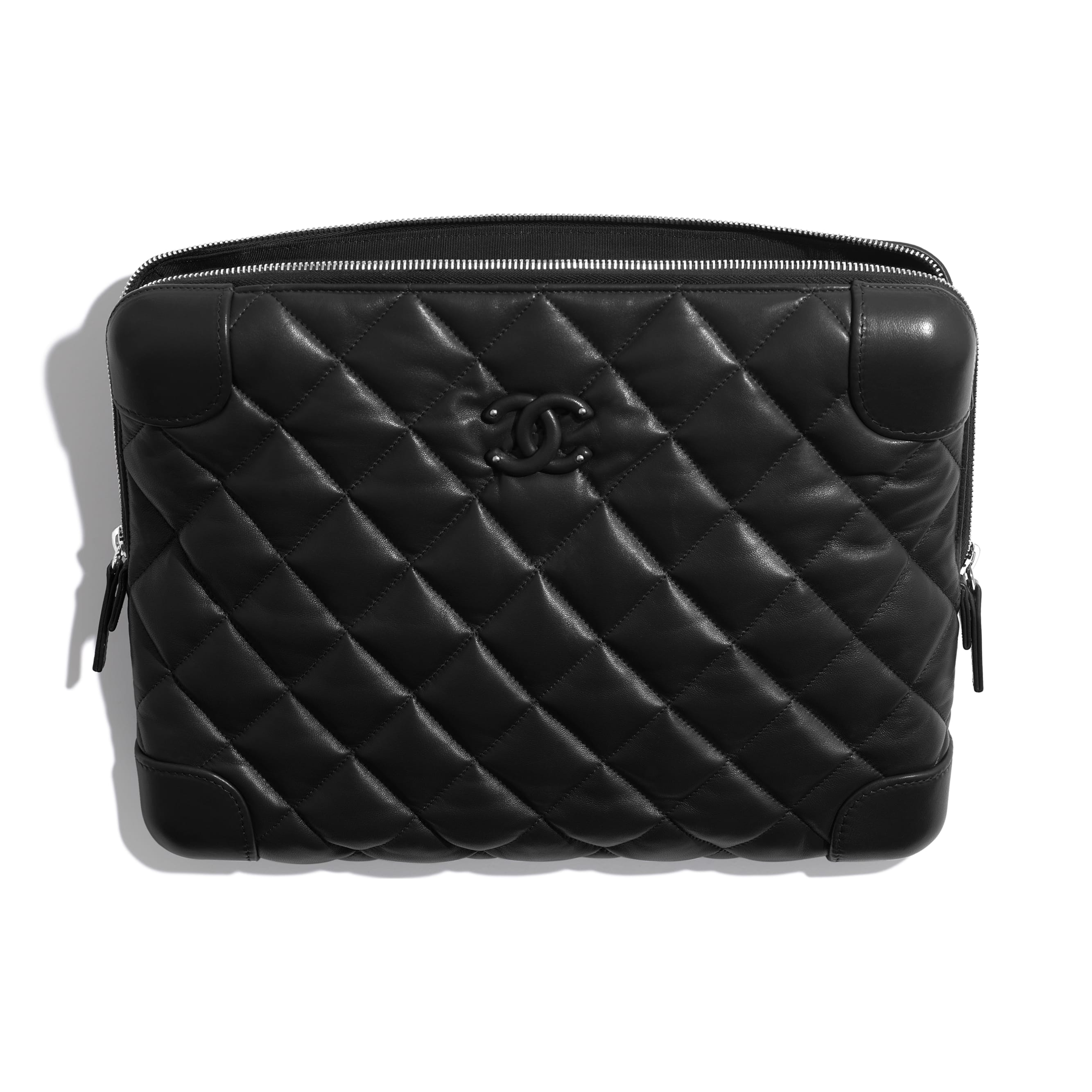 Large Clutch - Black - Lambskin - Other view - see standard sized version
