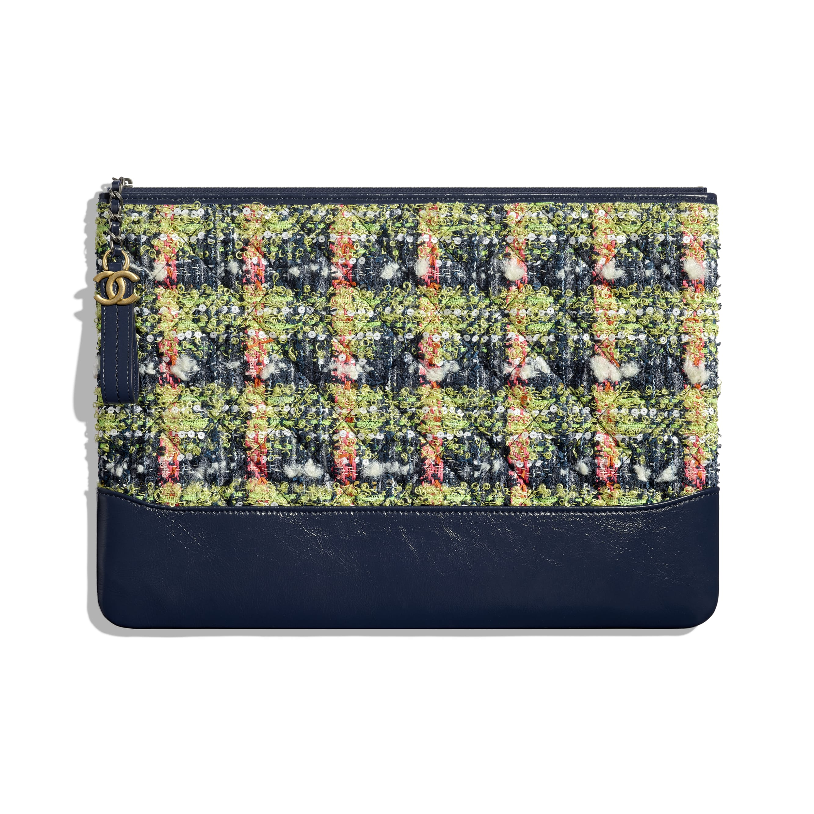 Large Pouch - Navy Blue, Green, Pink & White - Tweed, Calfskin, Gold-Tone & Silver-Tone Metal - CHANEL - Default view - see standard sized version
