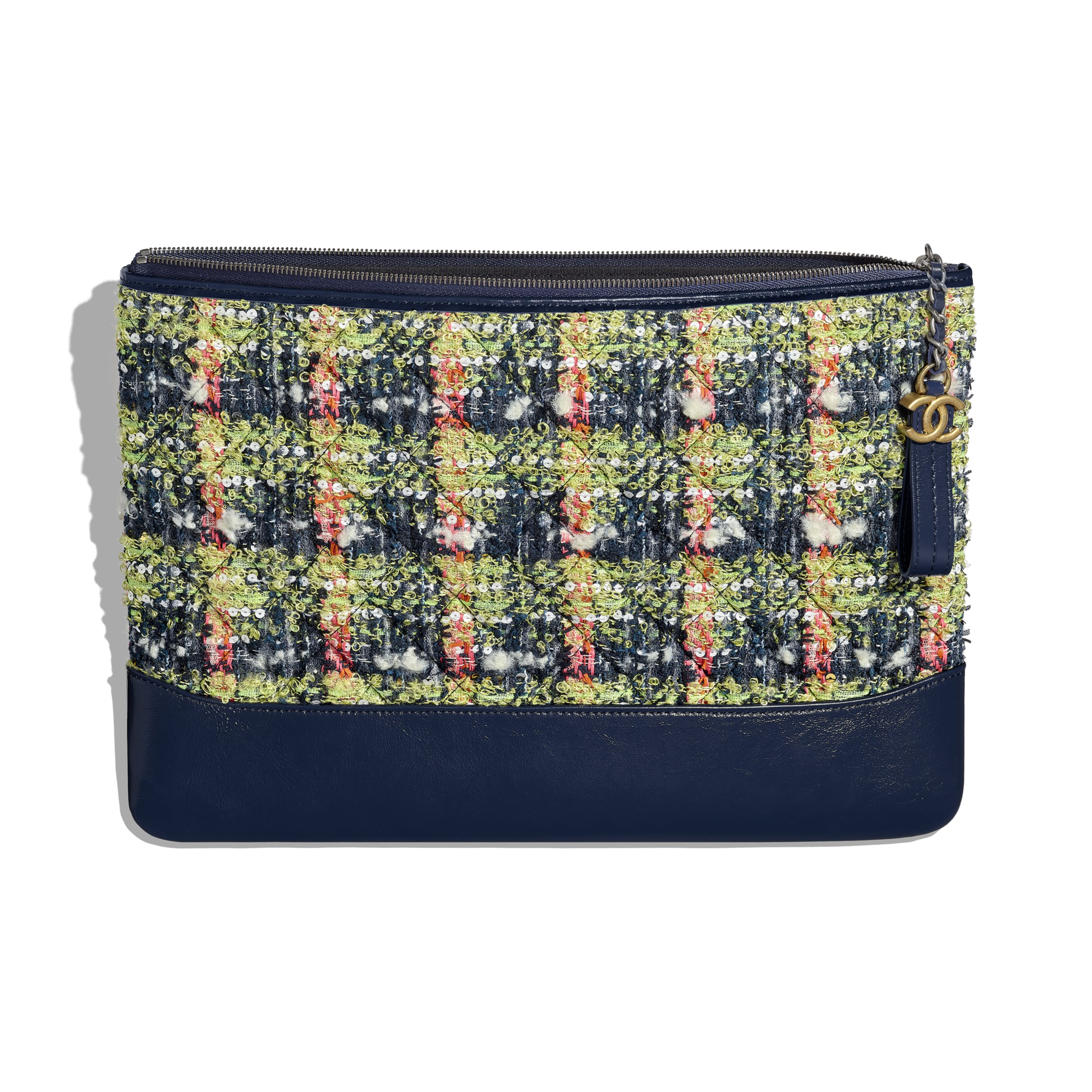 Large Pouch - Navy Blue, Green, Pink & White - Tweed, Calfskin, Gold-Tone & Silver-Tone Metal - CHANEL - Other view - see standard sized version