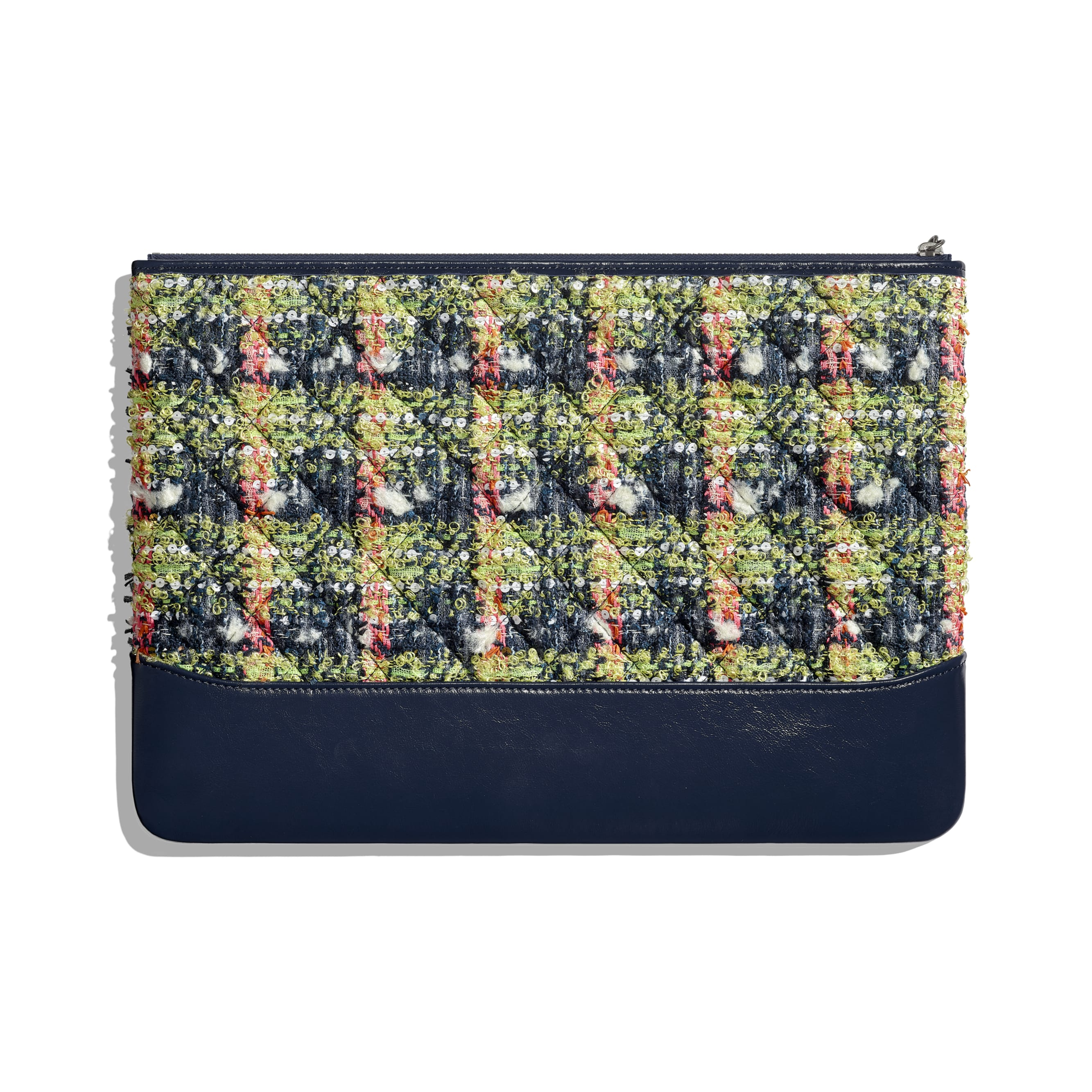 Large Clutch - Navy Blue, Green, Pink & White - Tweed, Calfskin, Gold-Tone, Silver-Tone & Ruthenium-Finish Metal - CHANEL - Alternative view - see standard sized version