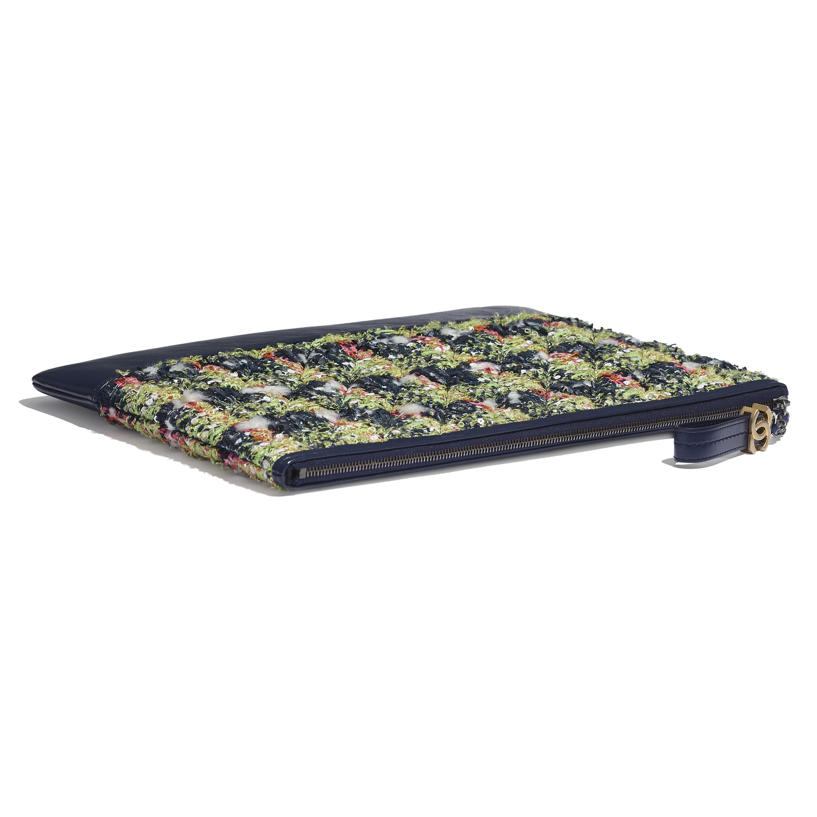 Large Clutch - Navy Blue, Green, Pink & White - Tweed, Calfskin, Gold-Tone, Silver-Tone & Ruthenium-Finish Metal - CHANEL - Extra view - see standard sized version