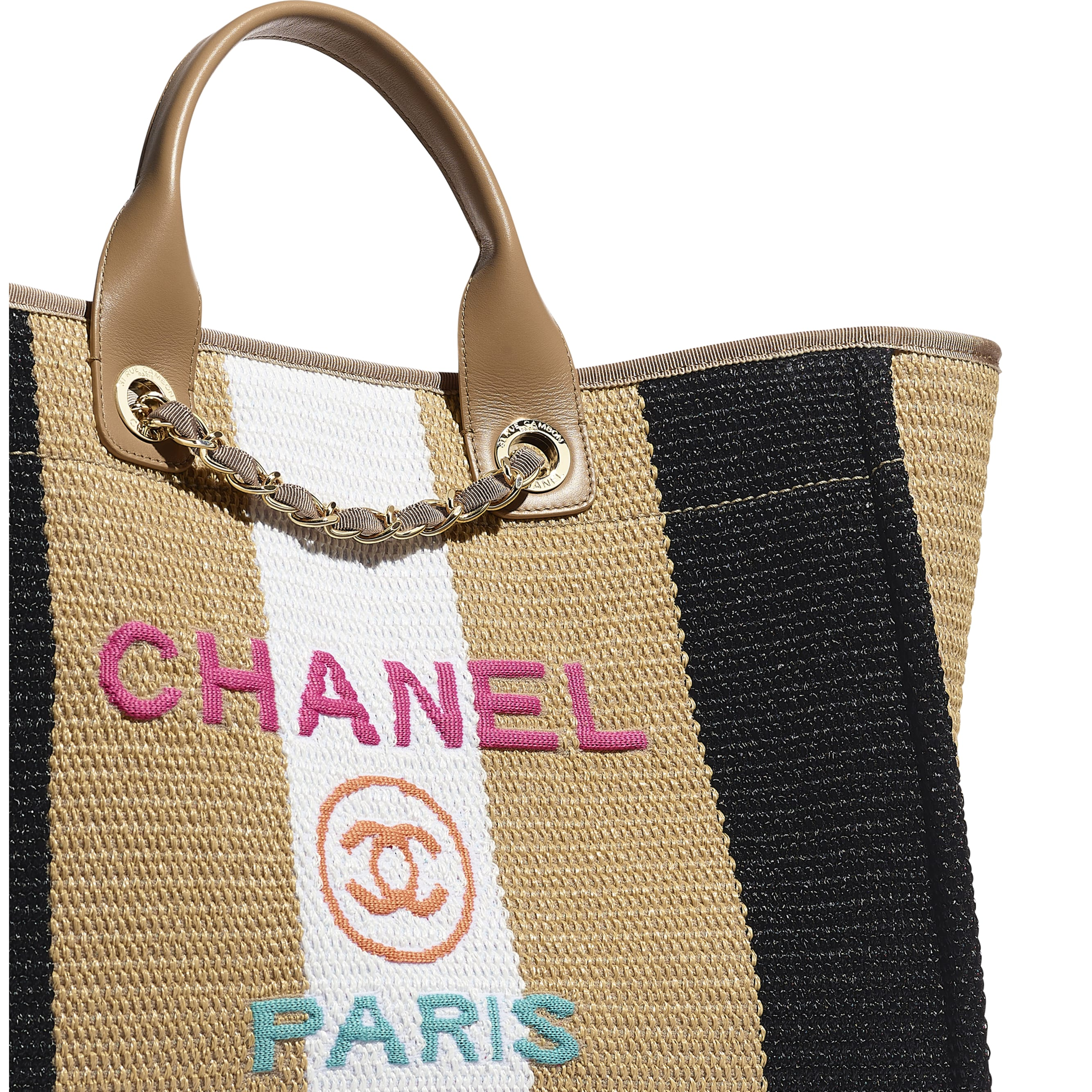 Large Tote - Beige, Black & Ivory - Viscose, Cotton, Calfskin & Gold-Tone Metal - CHANEL - Extra view - see standard sized version