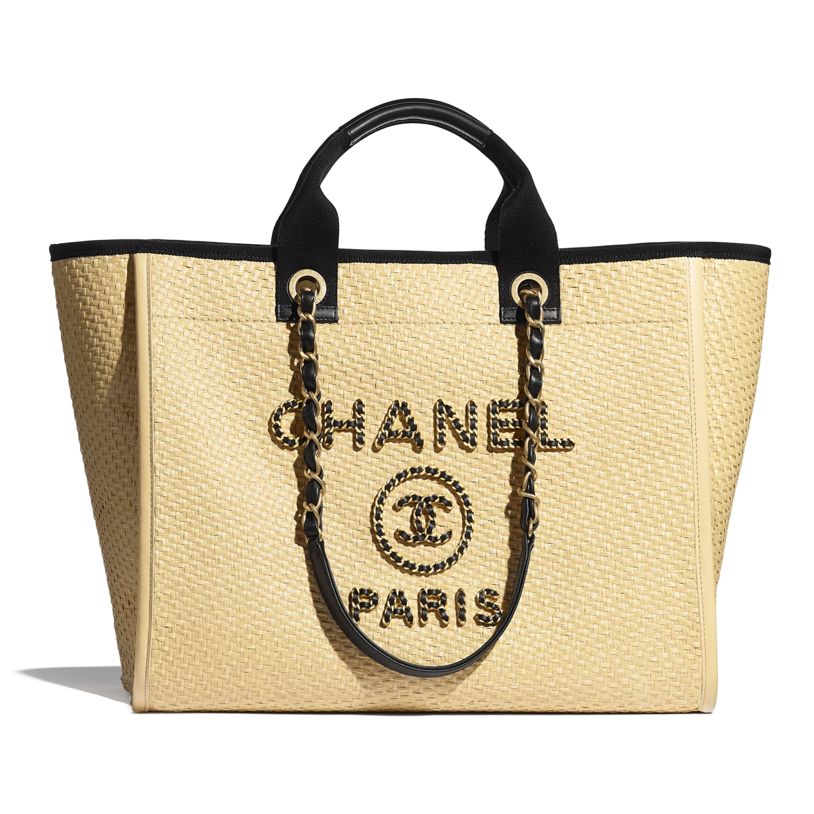 Borsa shopping grande - Beige & nero - Paglia, pelle & metallo effetto dorato - CHANEL - Immagine predefinita - vedere versione standard