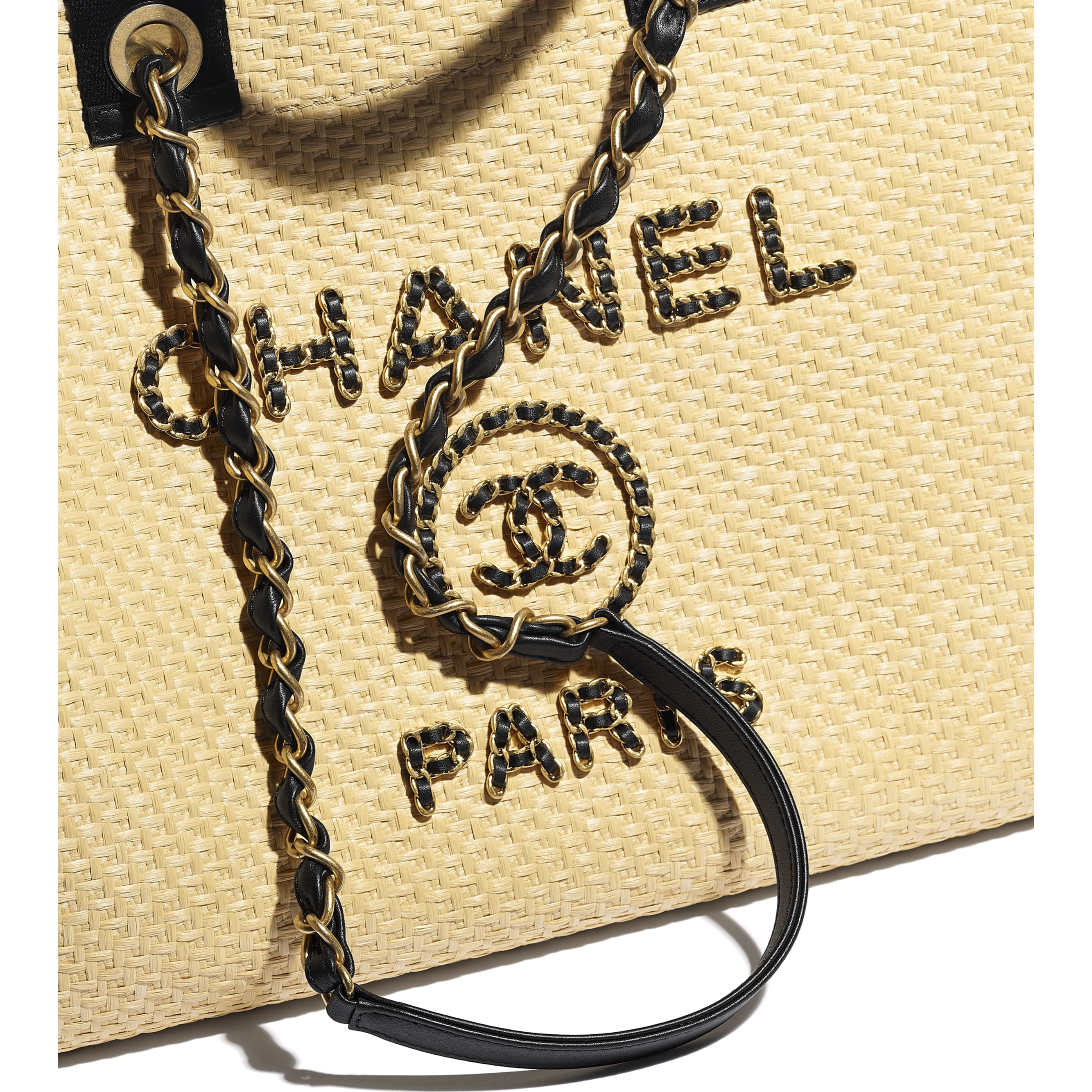 Large Tote - Beige & Black - Straw, Calfskin & Gold Metal - CHANEL - Extra view - see standard sized version