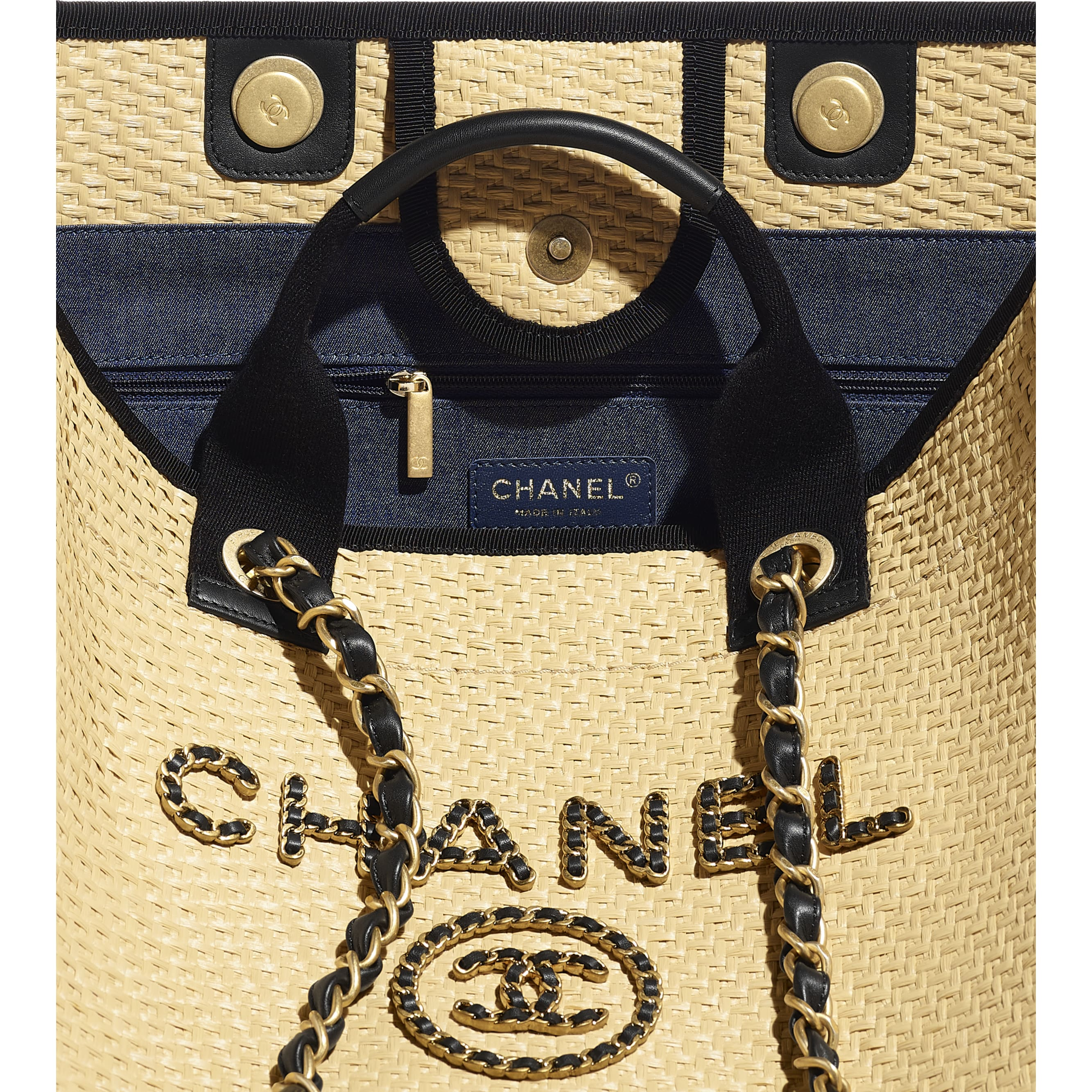 Large Tote - Beige & Black - Straw, Calfskin & Gold Metal - CHANEL - Other view - see standard sized version